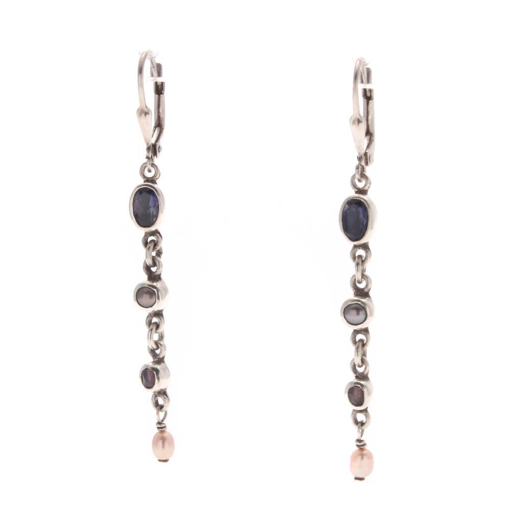 Sterling Silver Amethyst and Freshwater Pearl Earrings