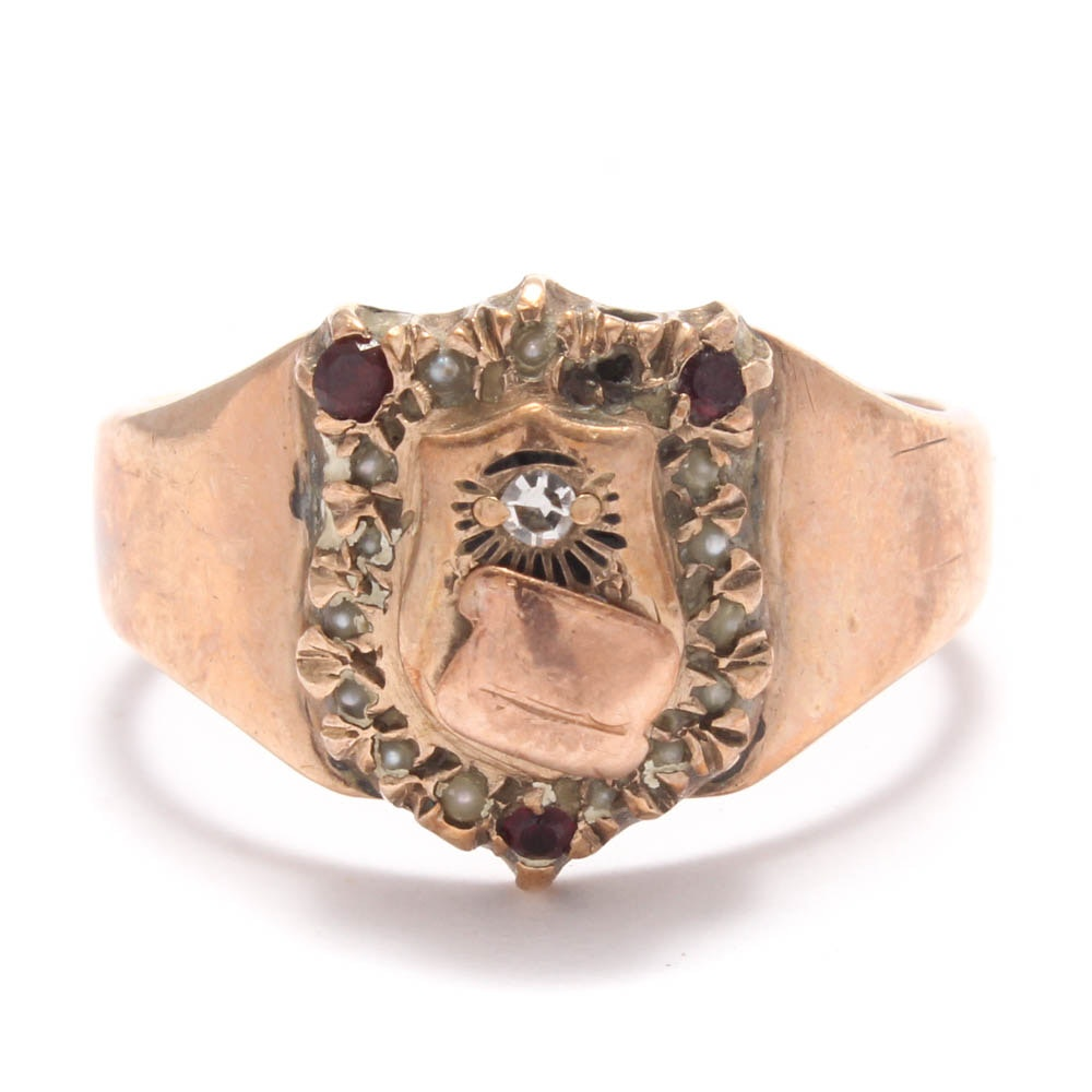 10K Yellow Gold Diamond Ruby and Seed Pearls Shield Ring