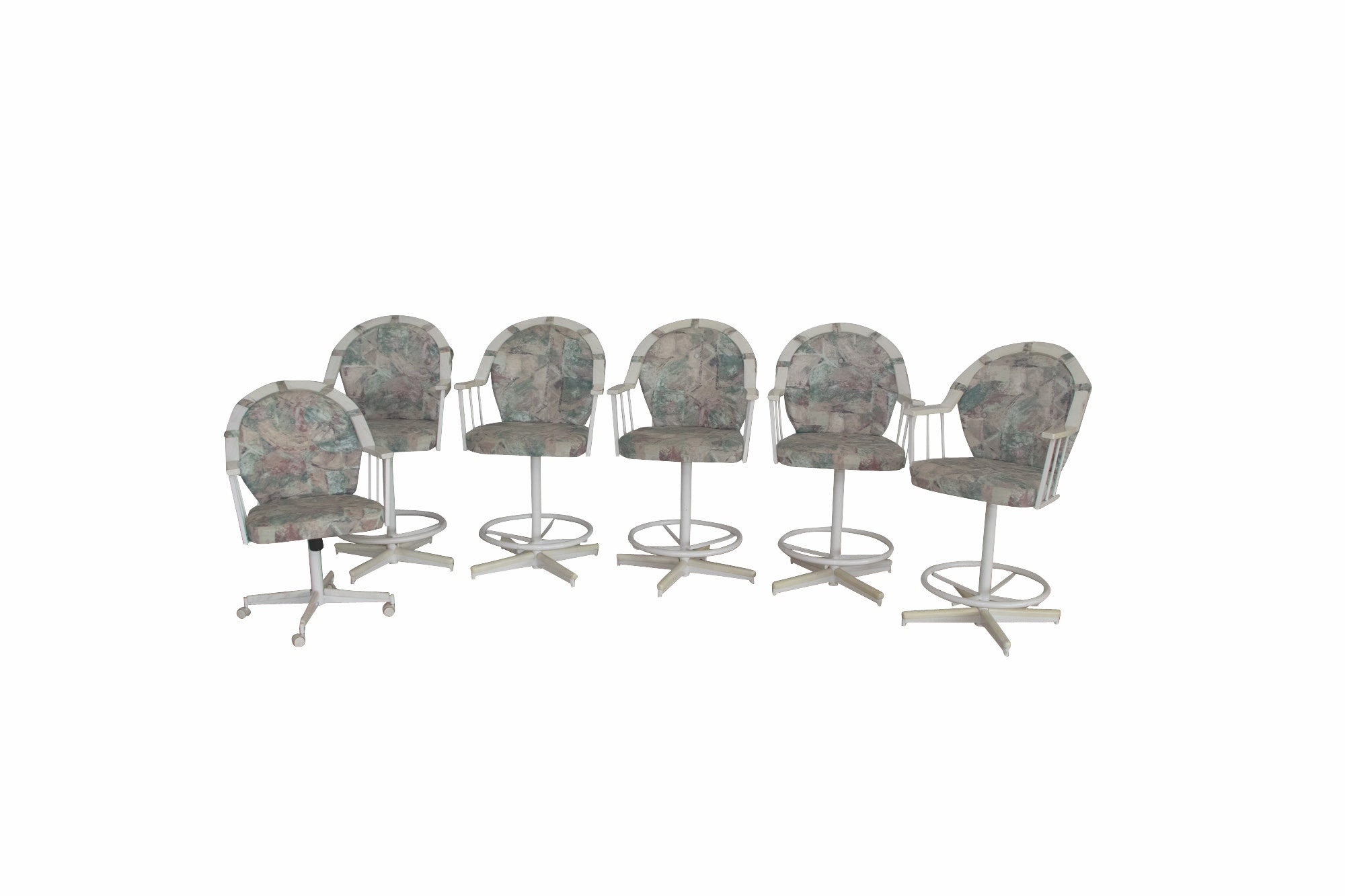 Five Stoneville Furniture Co., Swiveling Bar Stools Plus One Rolling Armchair