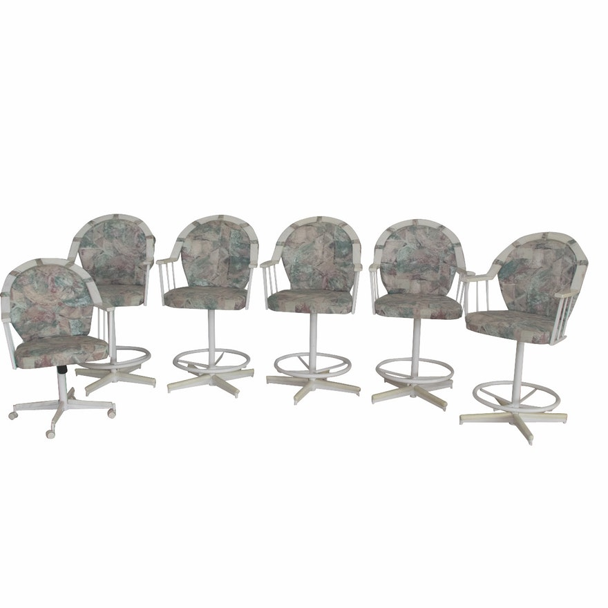 Five Stoneville Furniture Co Swiveling Bar Stools Plus One Rolling