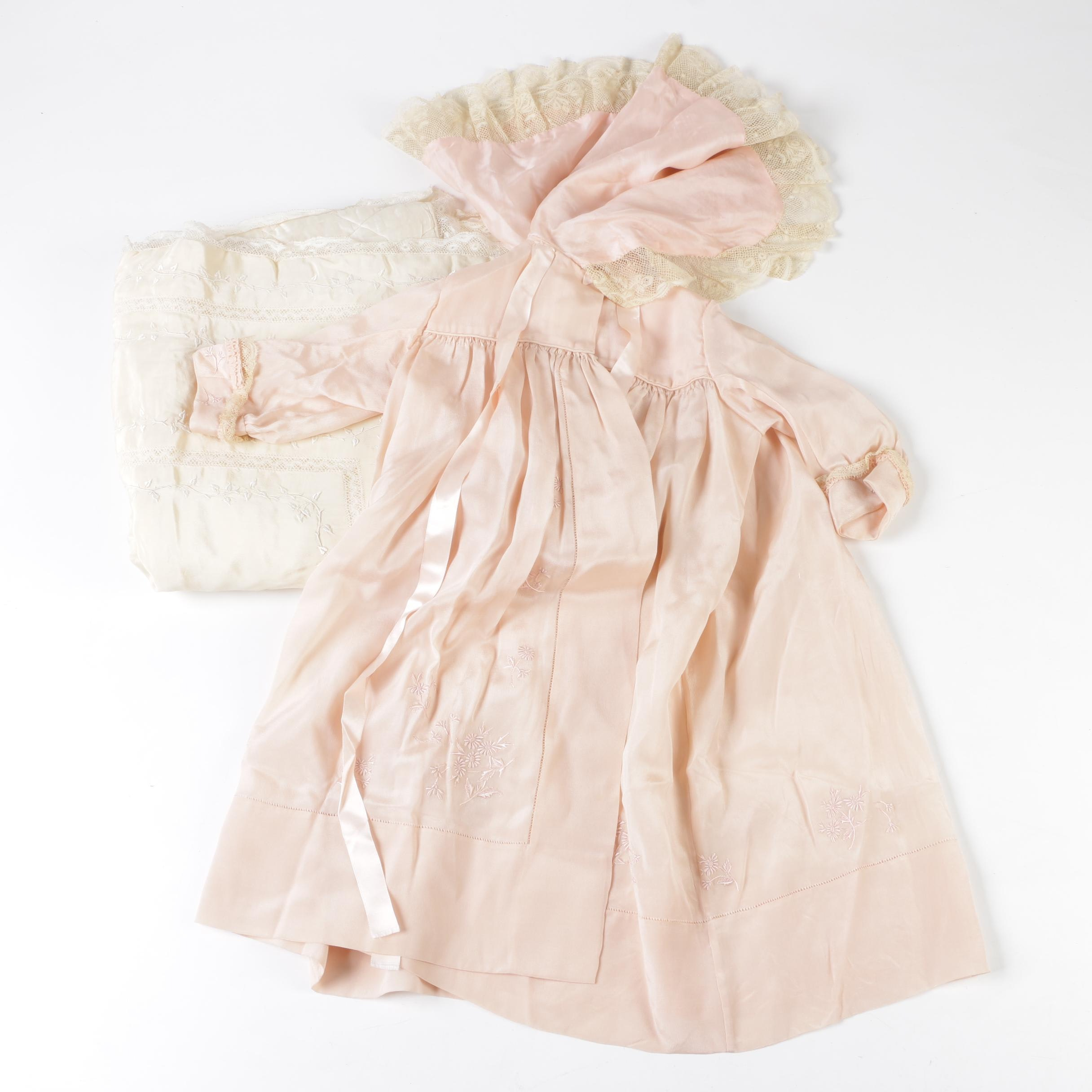 Infant Embroidered Silk Pink Cape Collar Robe and Ivory Cradle Quilt, circa 1930