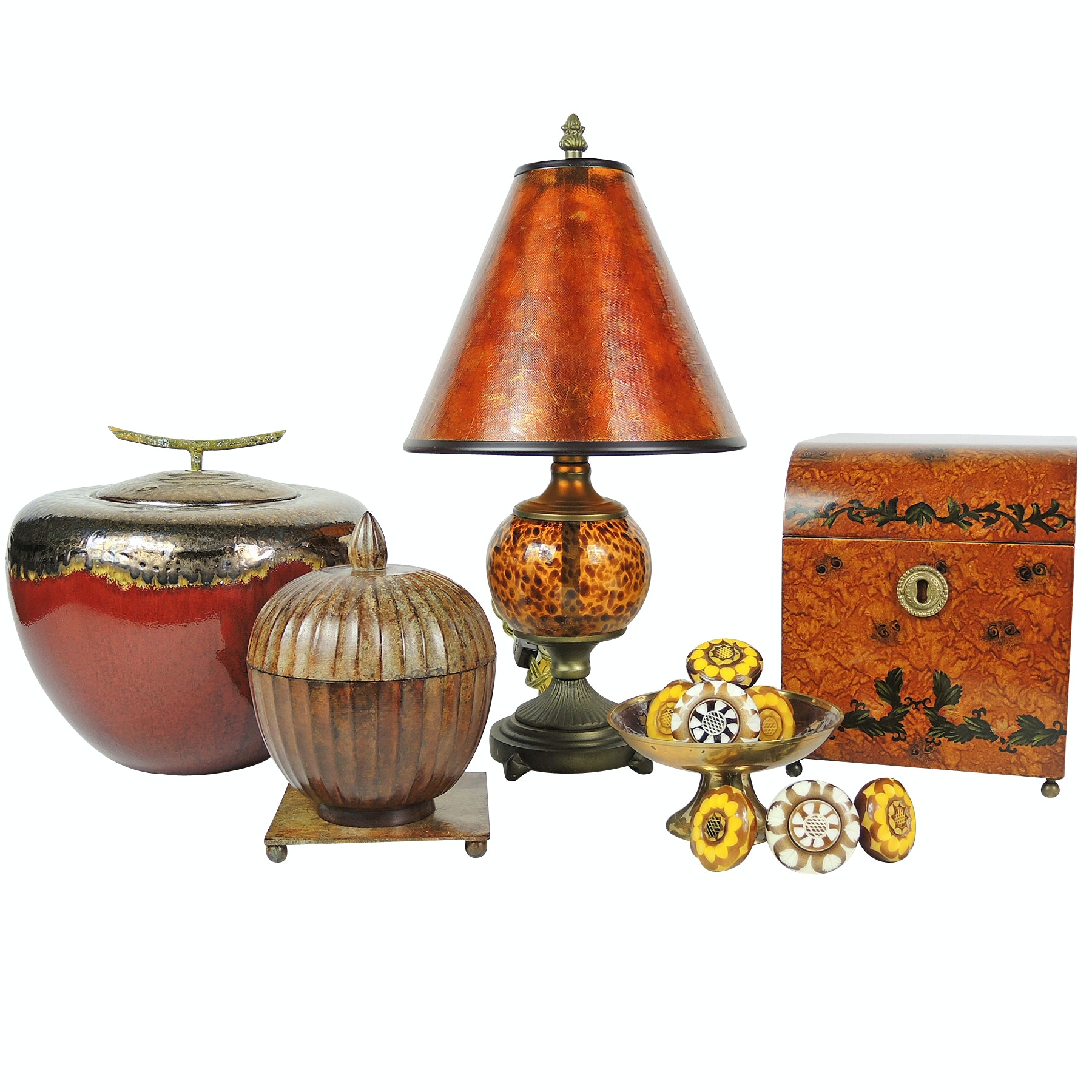 Home Interior Decor With Drawer Pulls, Amber Glass Table Lamp and Vessels