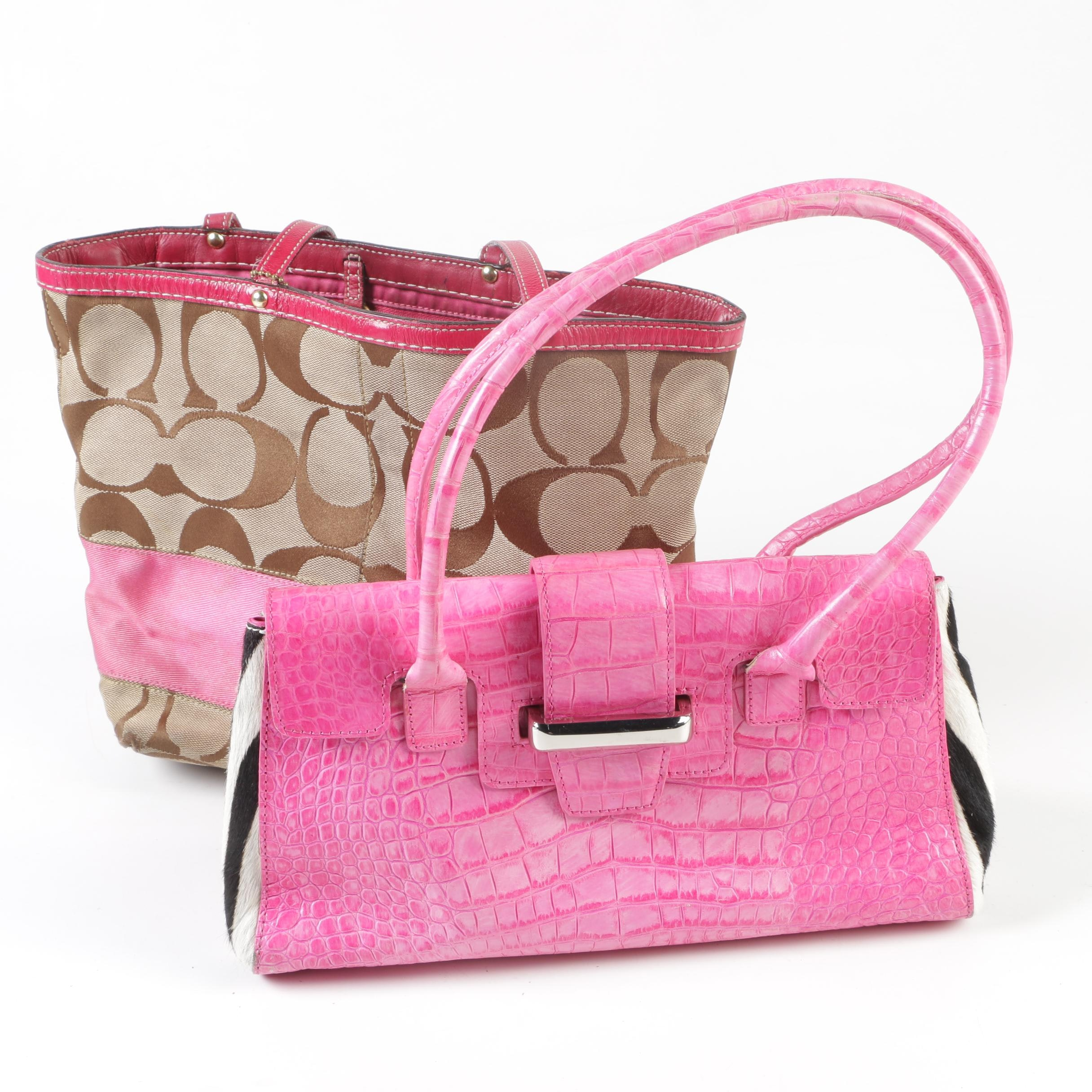 Coach Signature Jacquard Tote and Adrienne Vittadini Calf Hair and Leather Bag