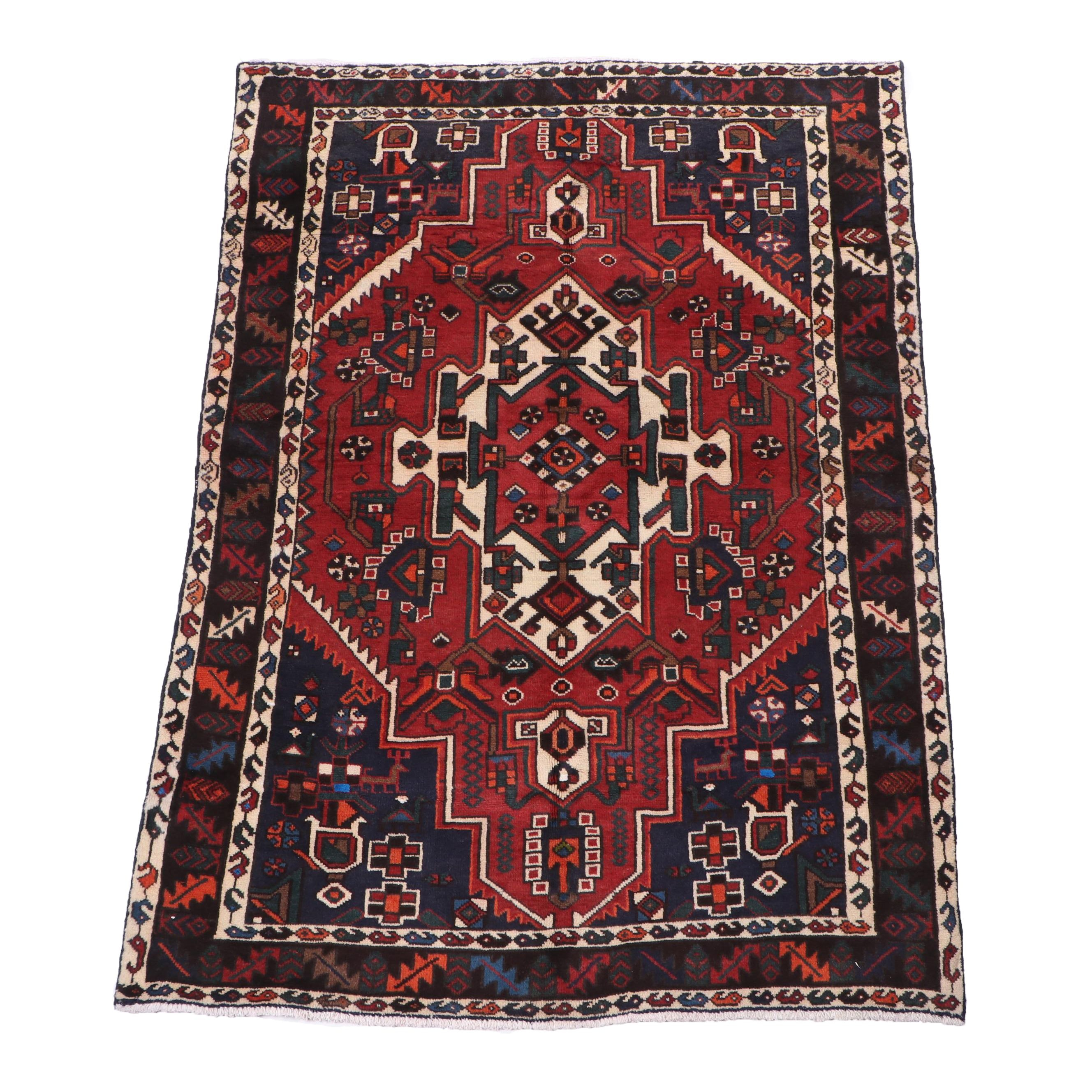 Hand-Knotted Persian Shirvan Wool Rug