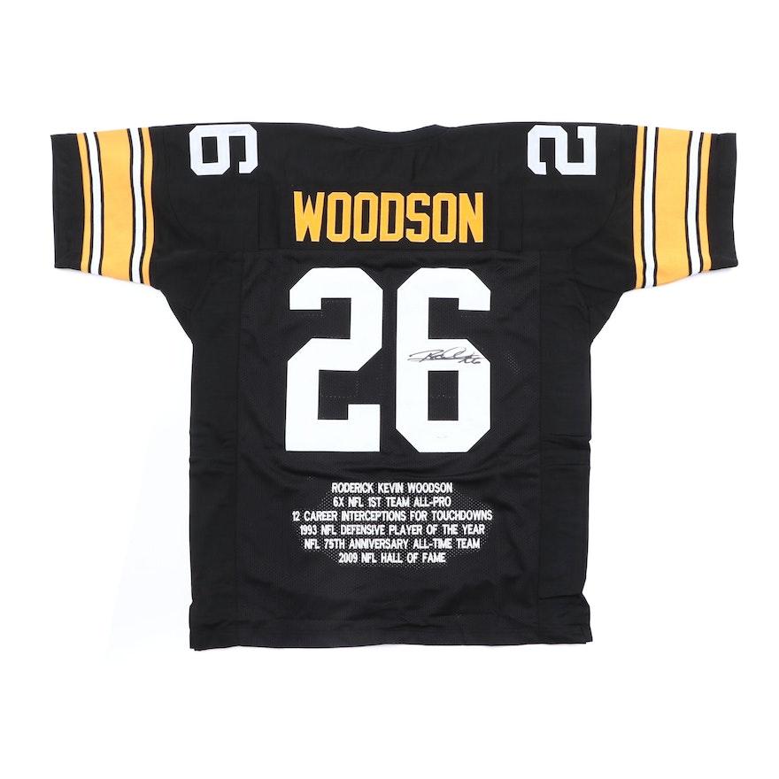 huge discount 392e7 42ba1 (HOF) Rod Woodson Signed Pittsburgh Steelers Replica NFL Football Jersey