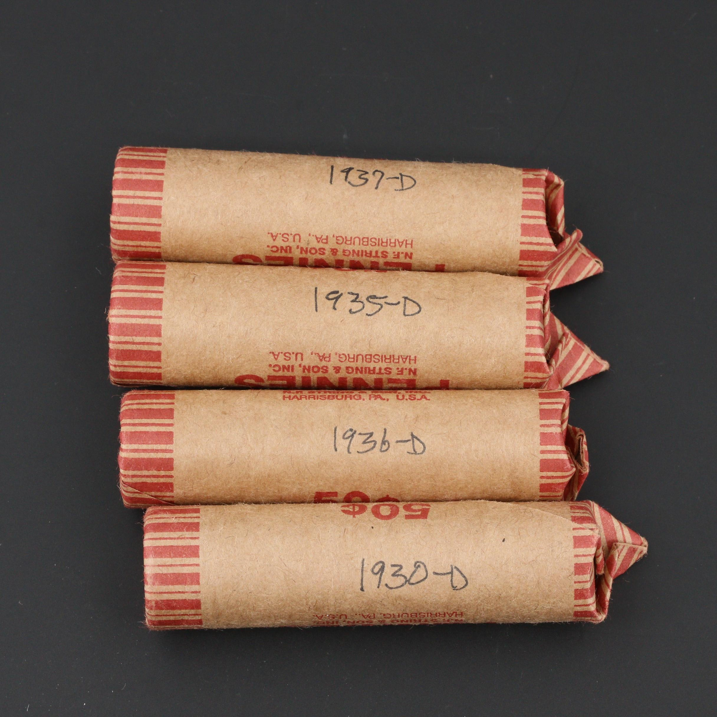 Four Rolls of 1930s Denver Mint Lincoln Wheat Cents