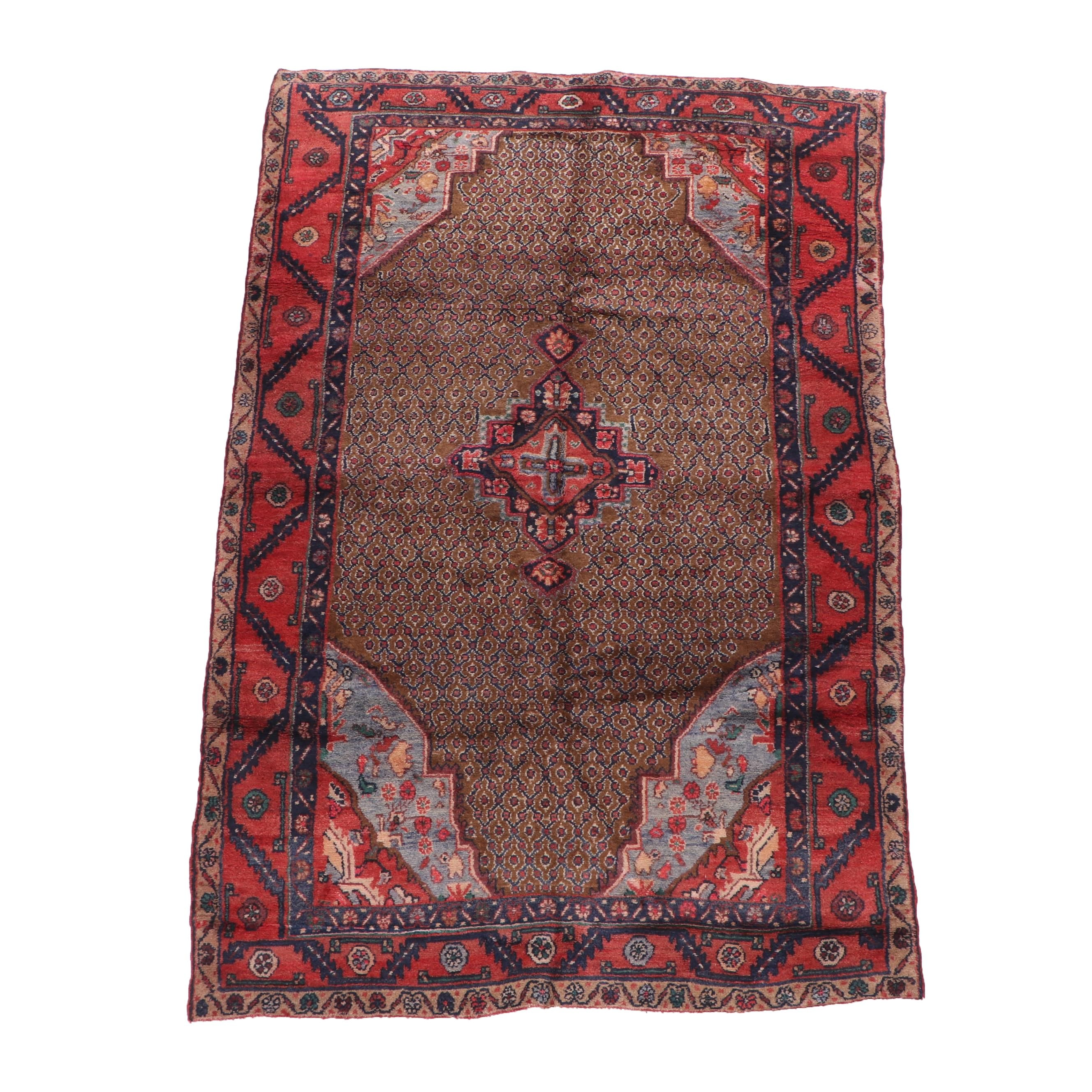 Hand-Knotted Kurdish Wool Rug