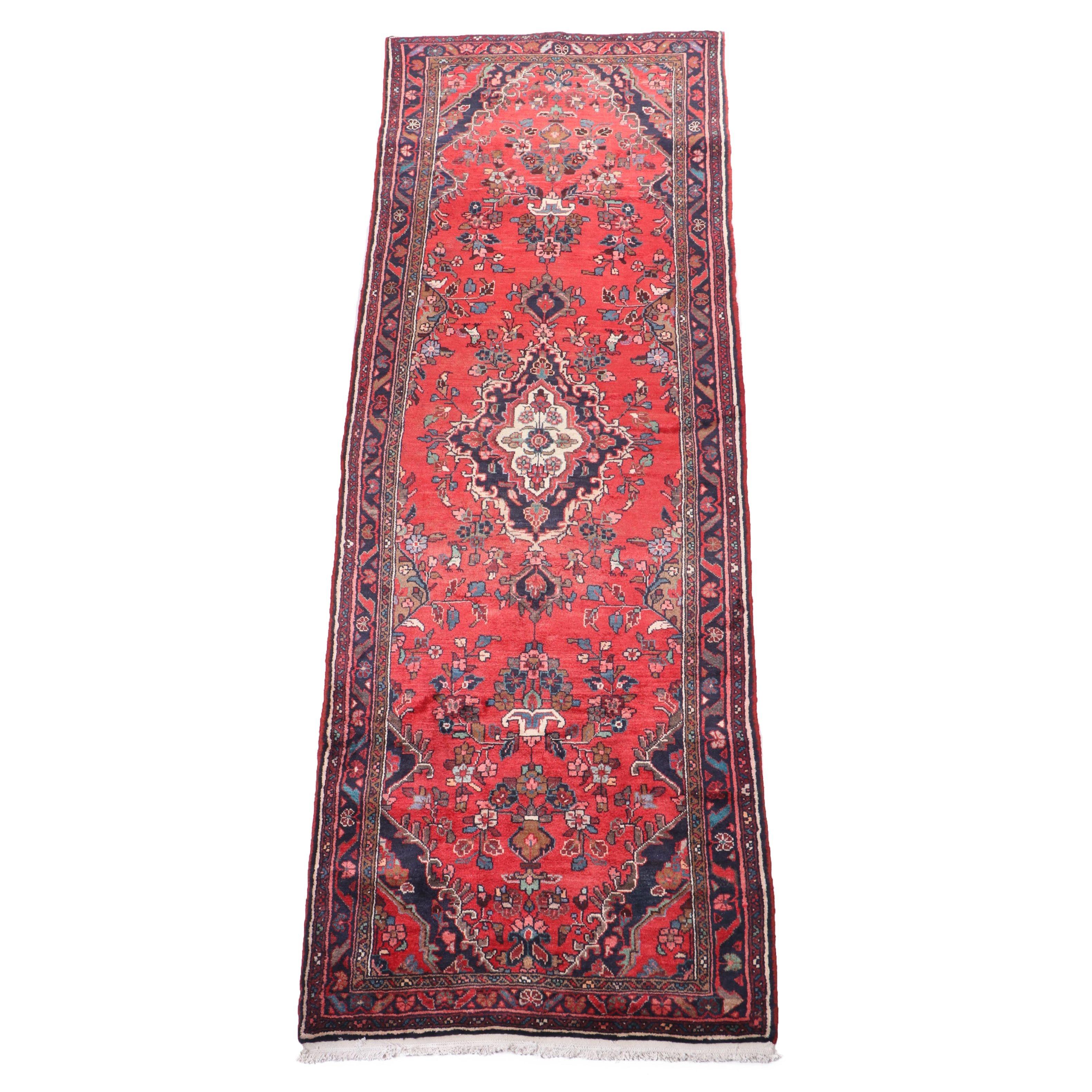 Hand-Knotted Persian Darjezine Wool Carpet Runner