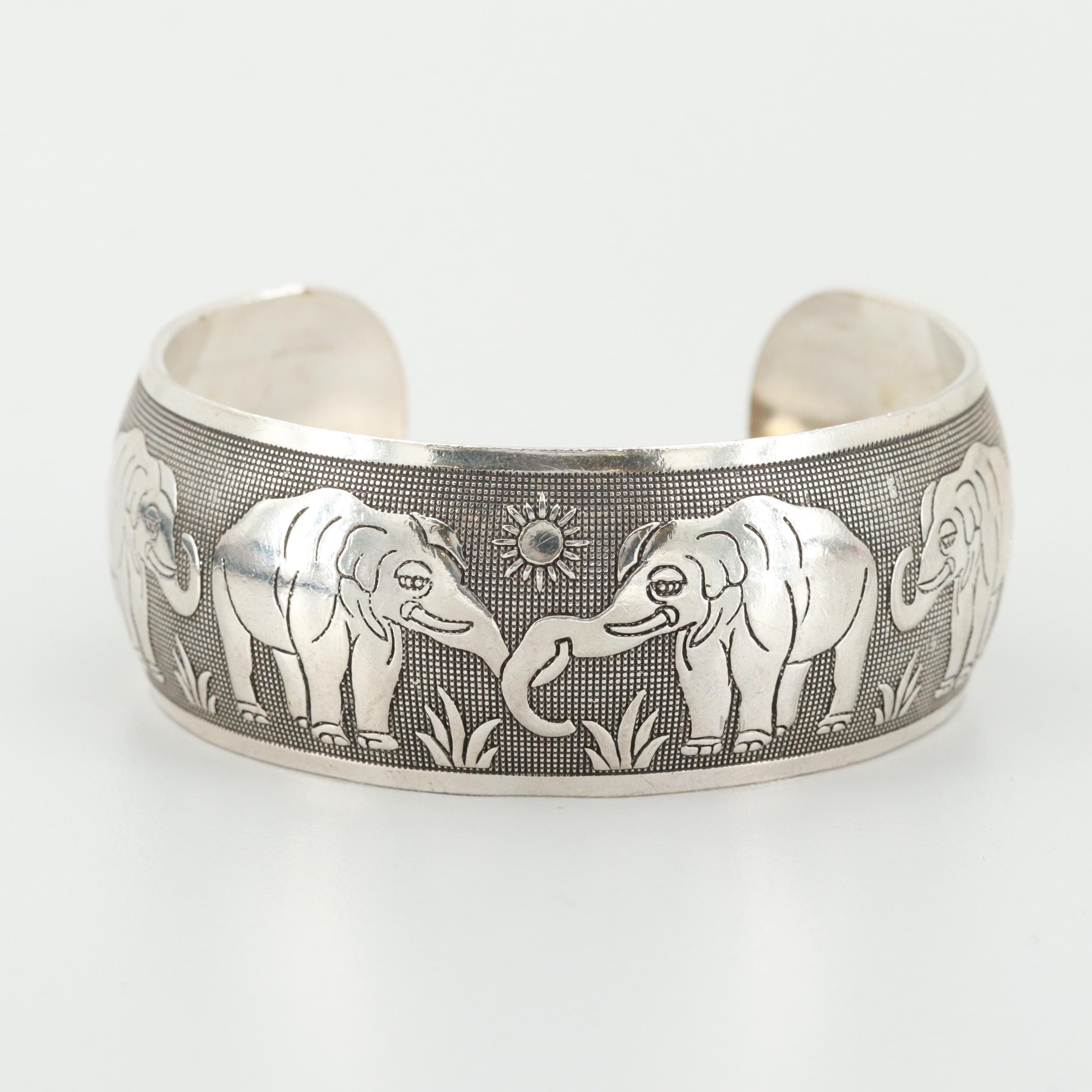 Sterling Silver Elephant Cuff Bracelet