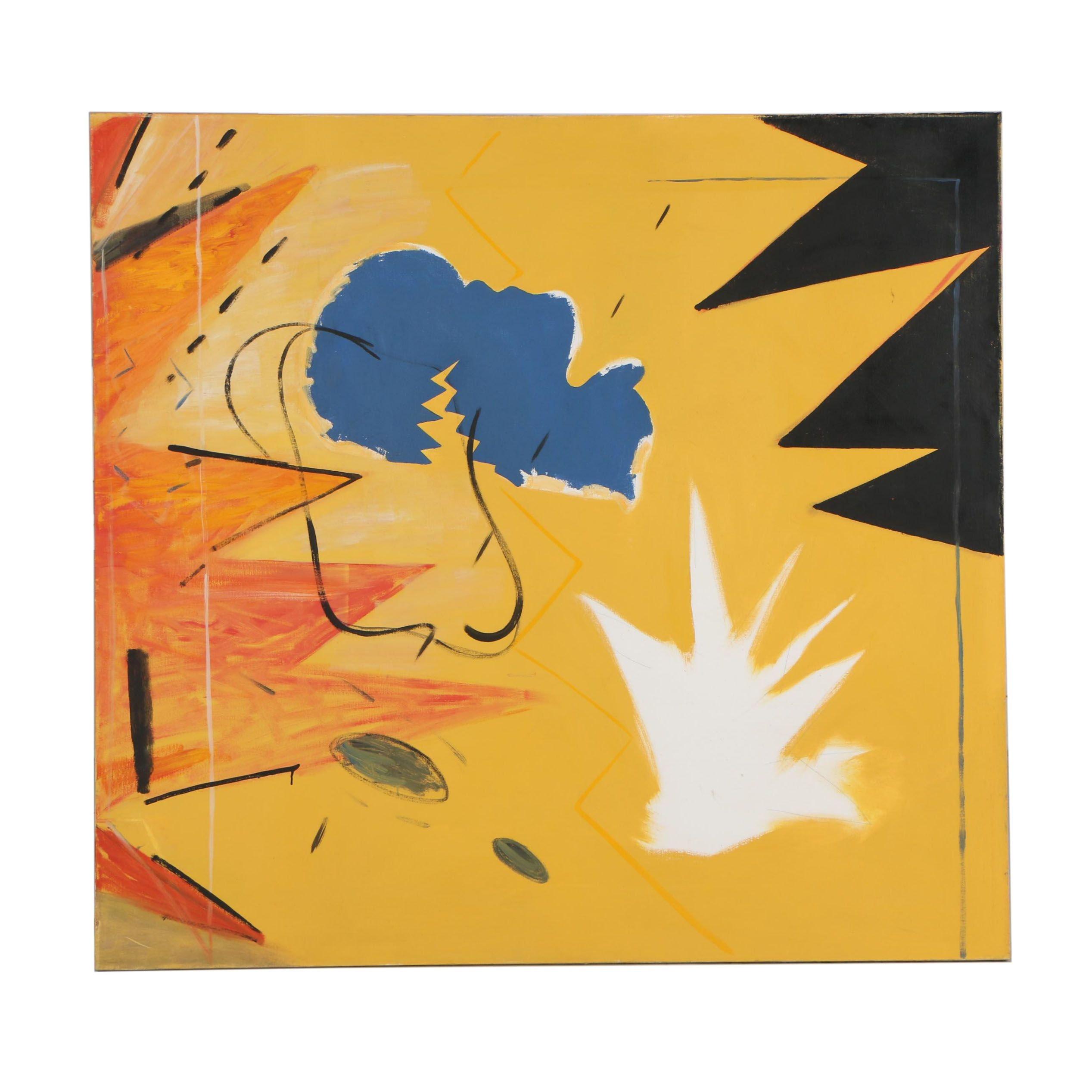 """Peter Rappoli 1980 Oil Painting """"Deposed I"""""""
