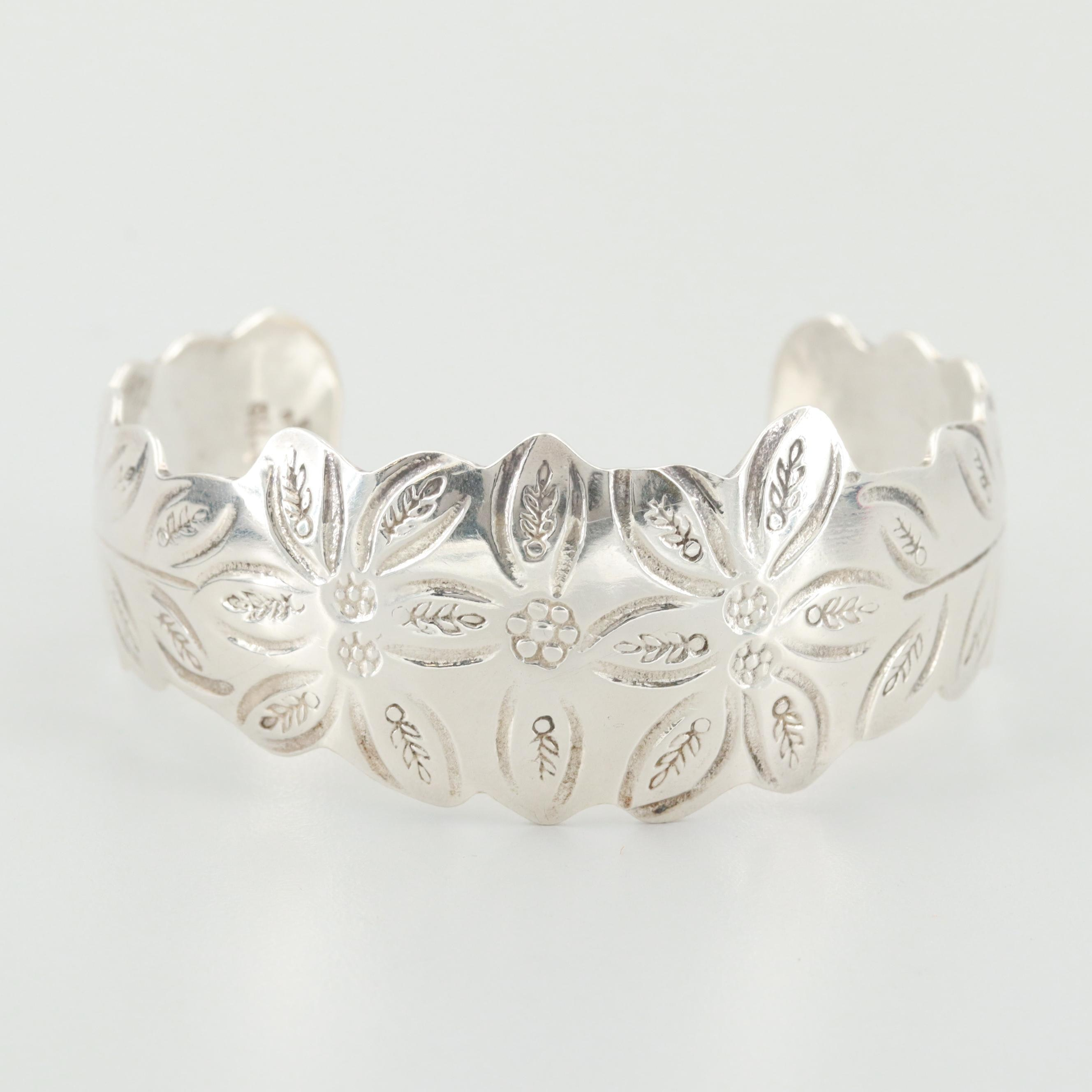 Mexican Sterling Silver Floral Stamped Cuff Bracelet