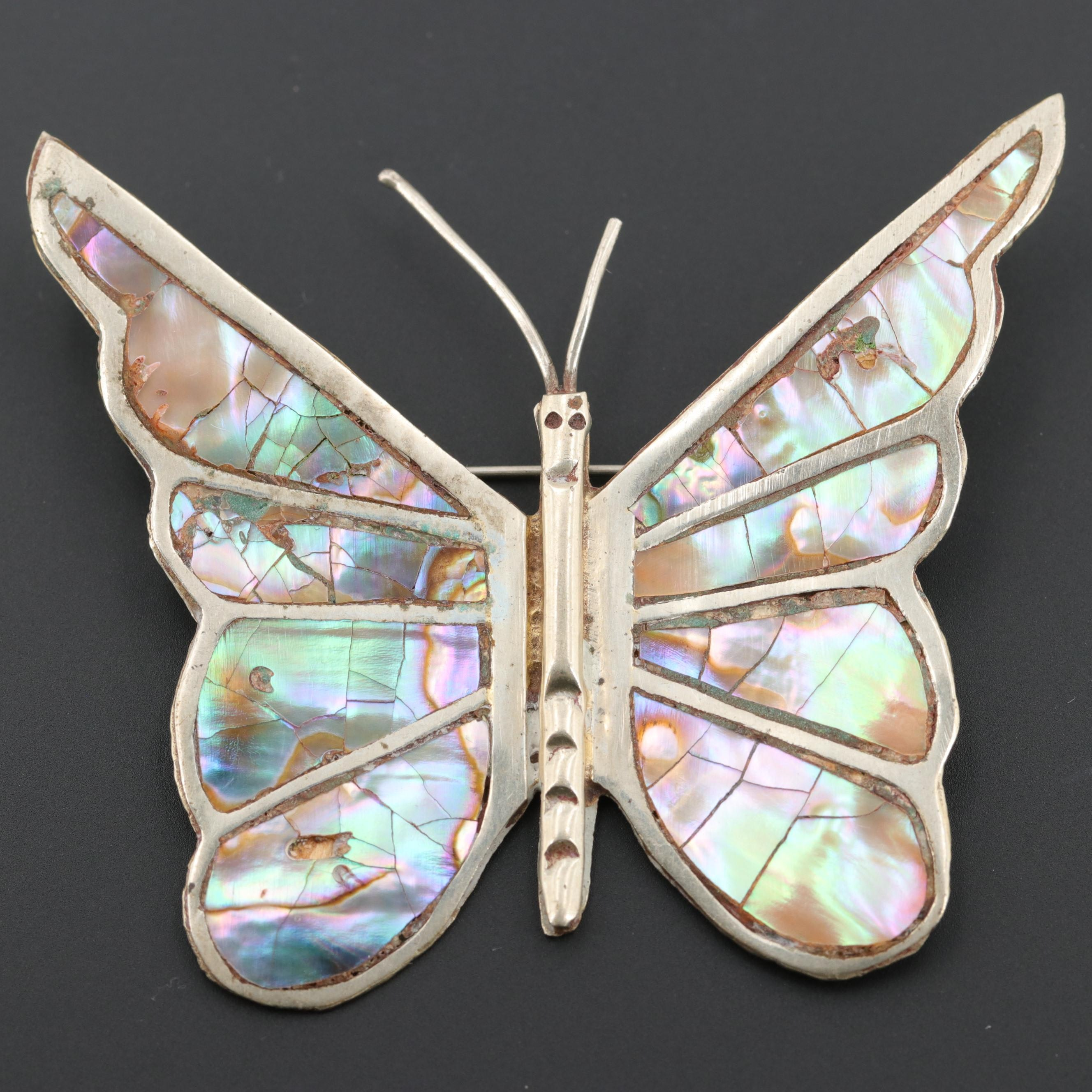 Mexican Abalone Butterfly Brooch