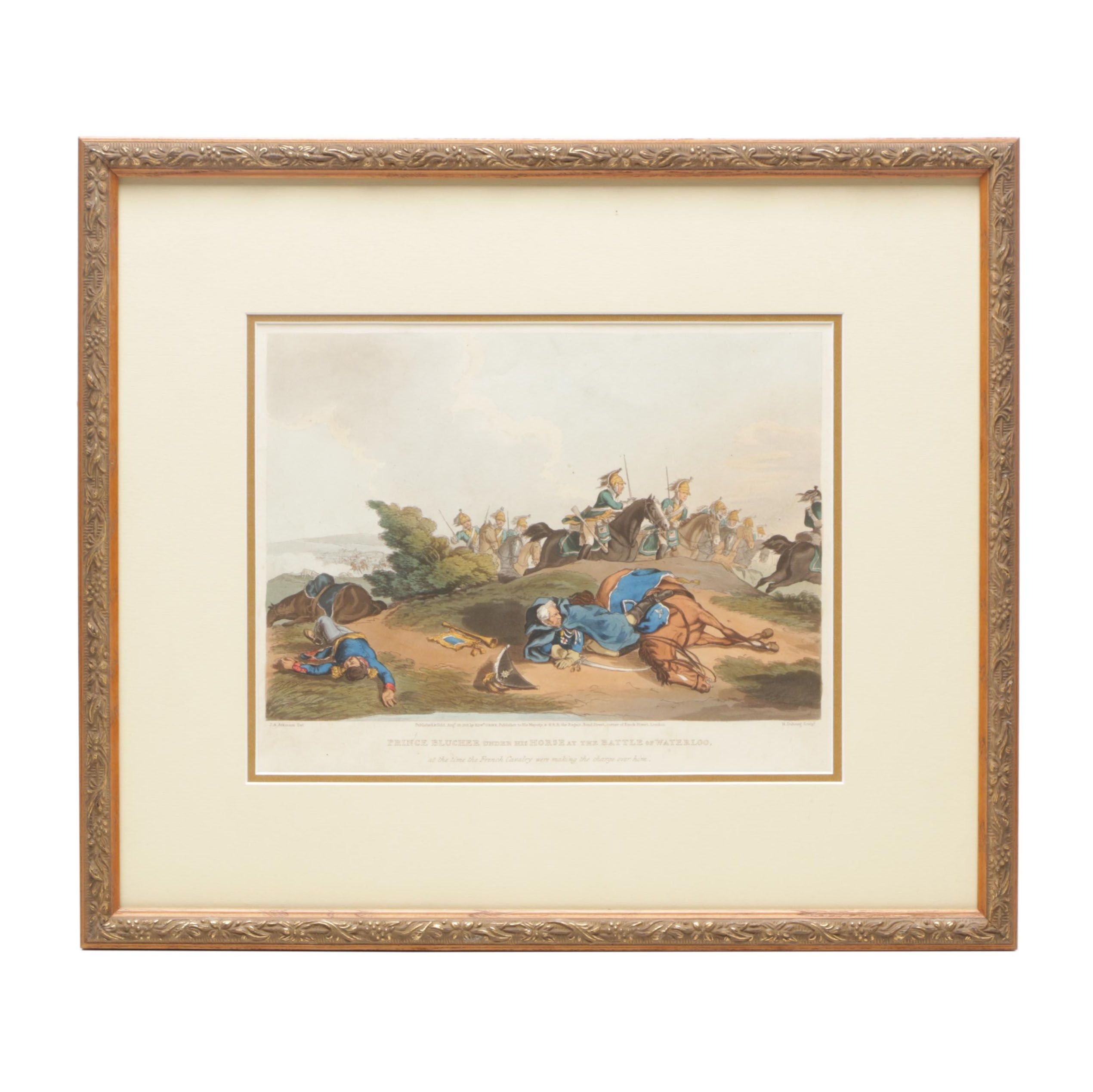 Hand-colored Etching with Aquatint after John A. Atkinson of Battle Scene