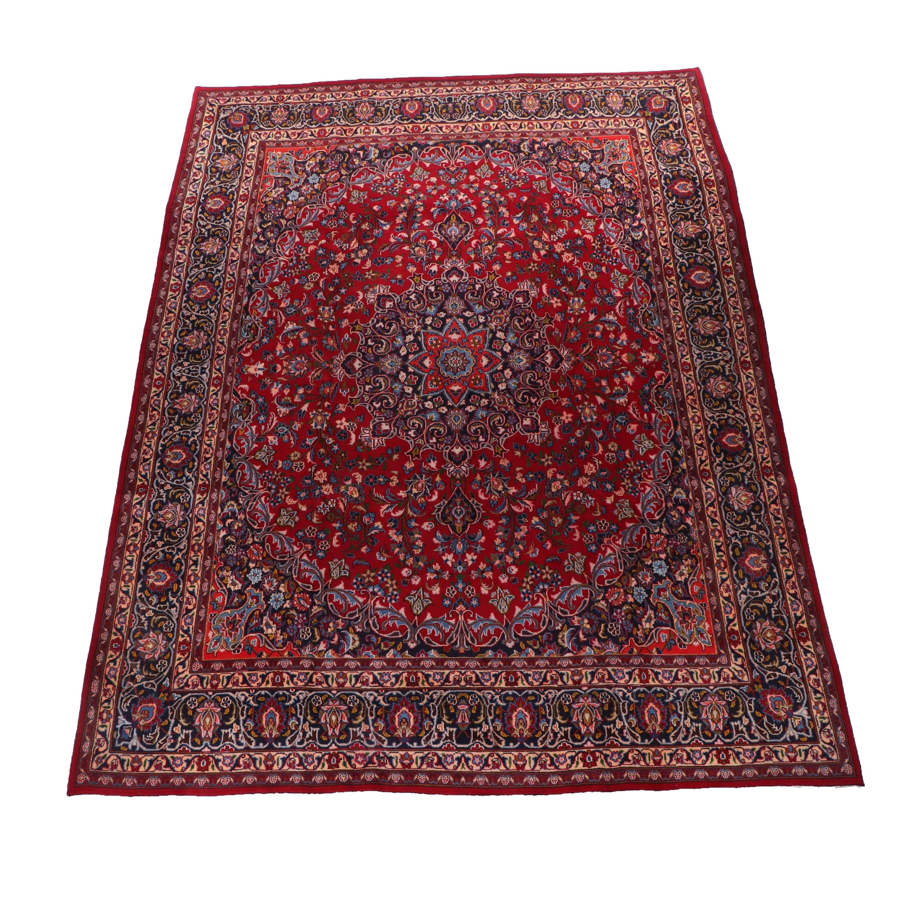 Hand-Knotted Persian Qom Wool Room Size Rug