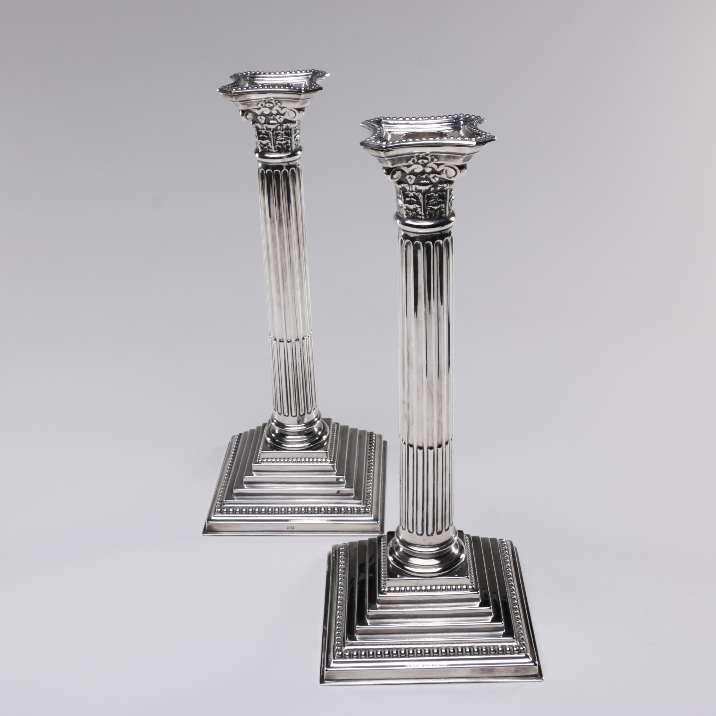 Silver-Plated Corinthian Column Candlesticks