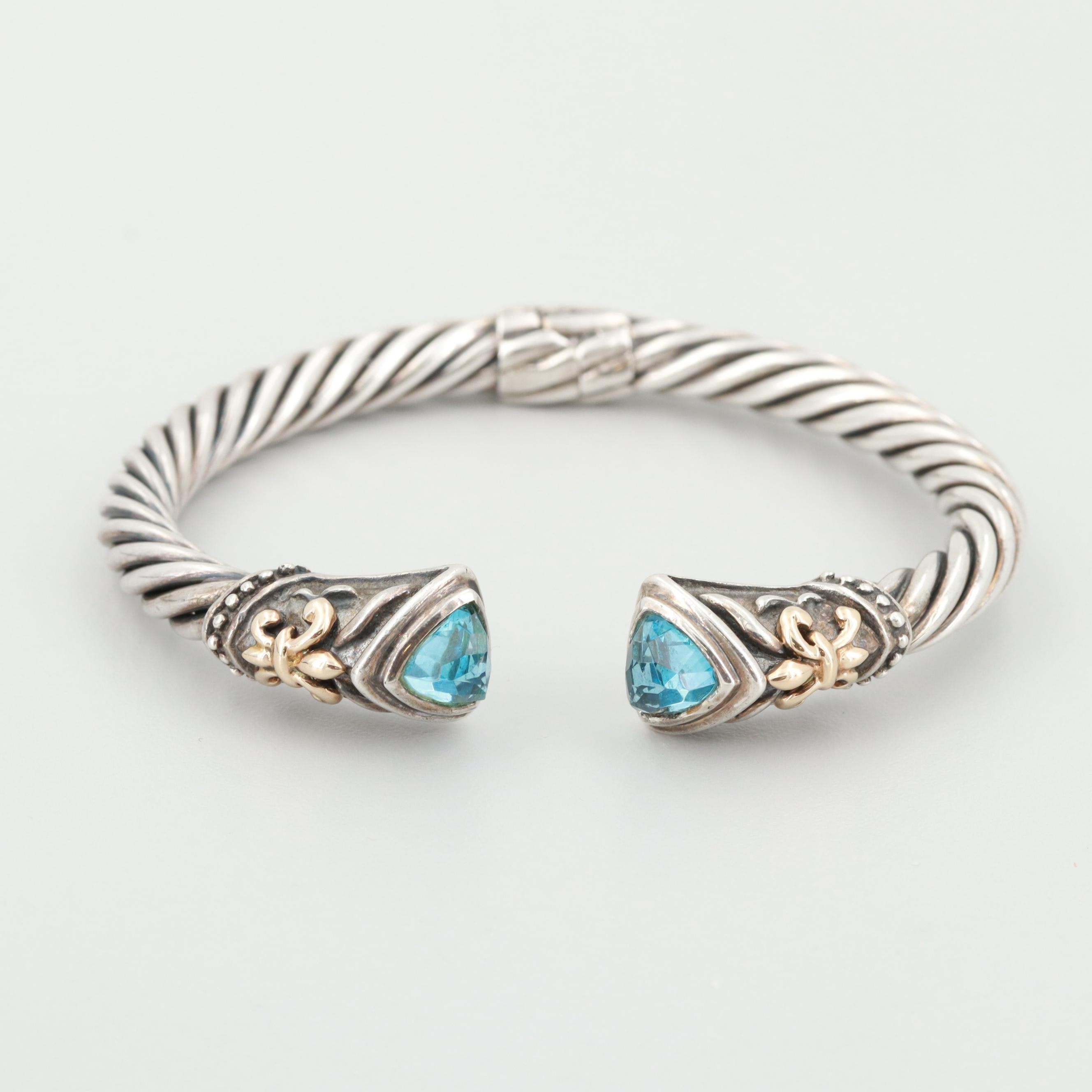 Sterling Silver Blue Topaz Cable Cuff Bracelet with 14K Yellow Gold Accents