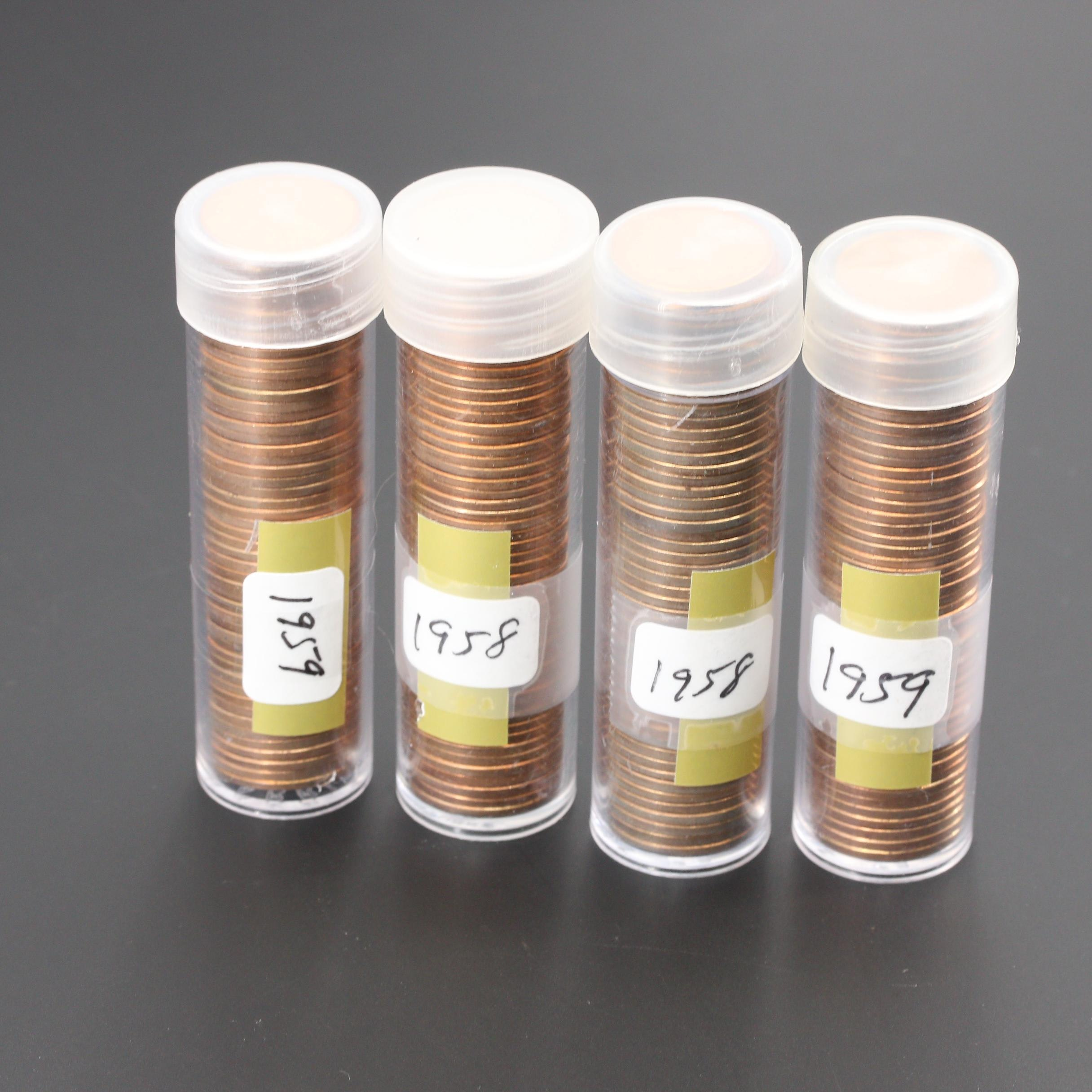 Group of Four Rolls of Uncirculated Lincoln Cents from 1958 and 1959