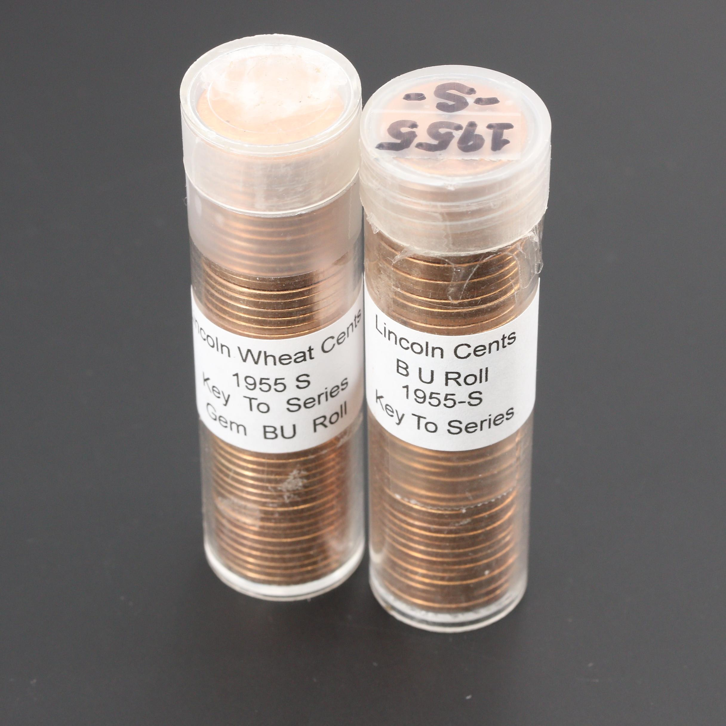 Group of Two Rolls of 1955-S Lincoln Wheat Cents