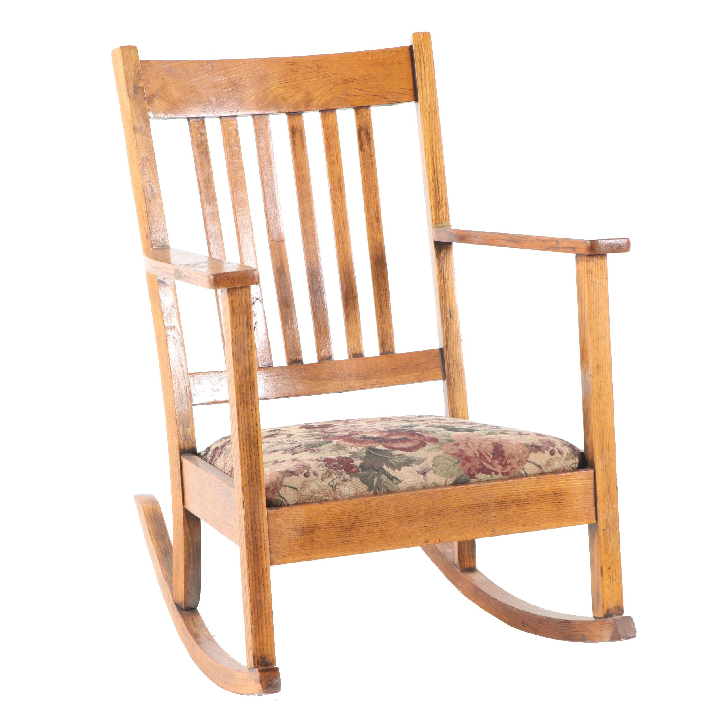 Craftsman Style Oak Rocking Chair, 20th Century