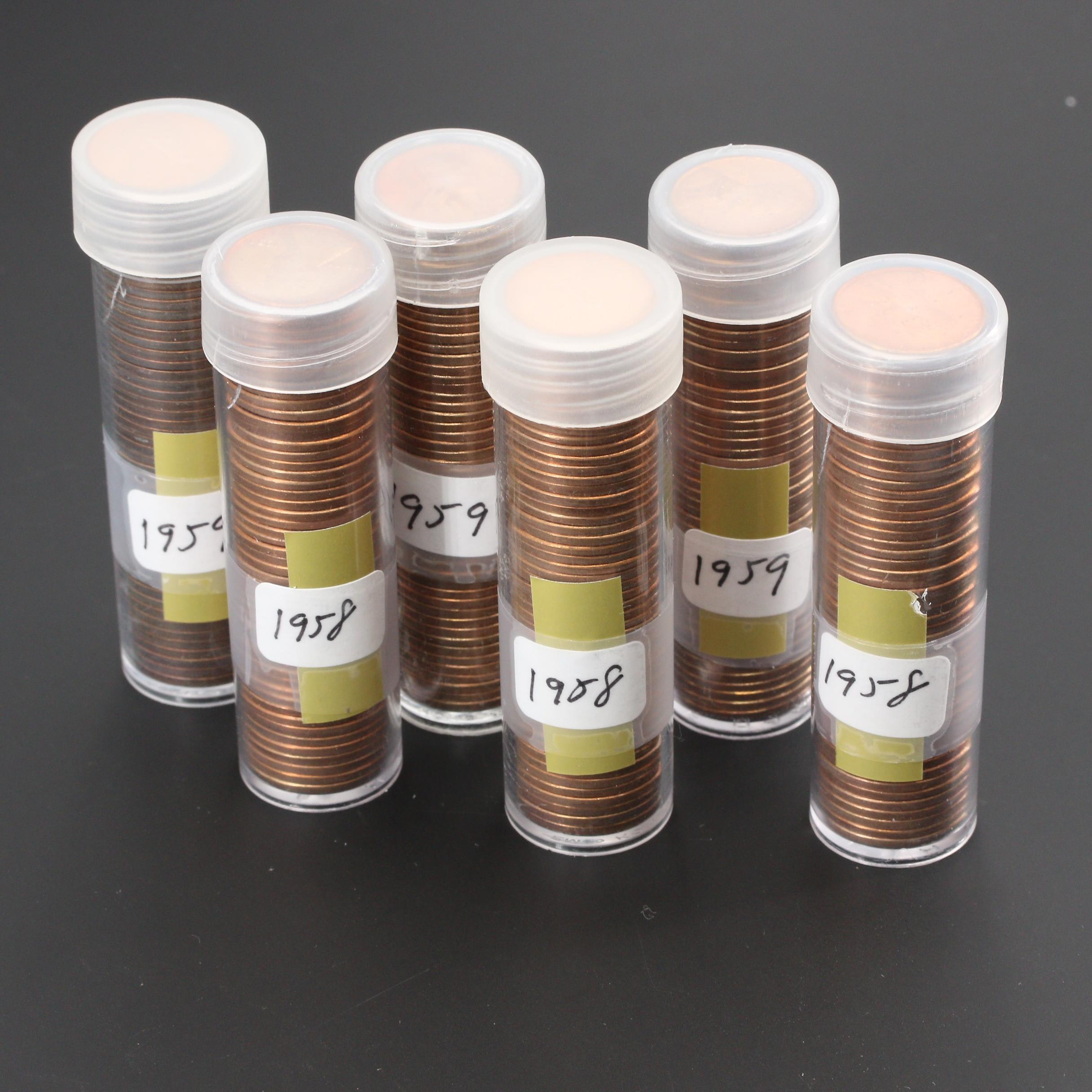 Group of Six Rolls of Uncirculated Lincoln Cents from 1958 and 1959