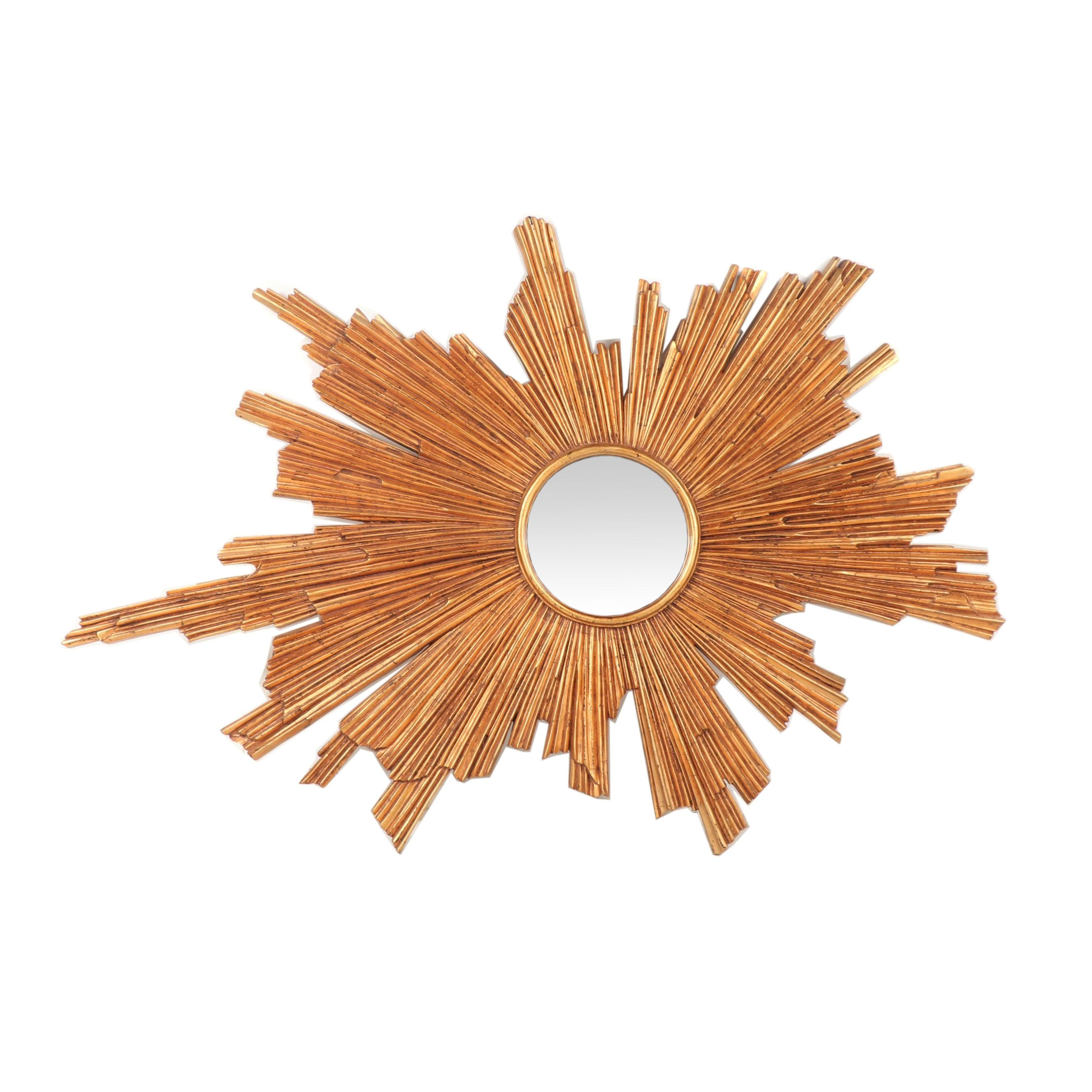 Mid-Century Modern Style Gilt Composition Wood Sunburst Wall Mirror