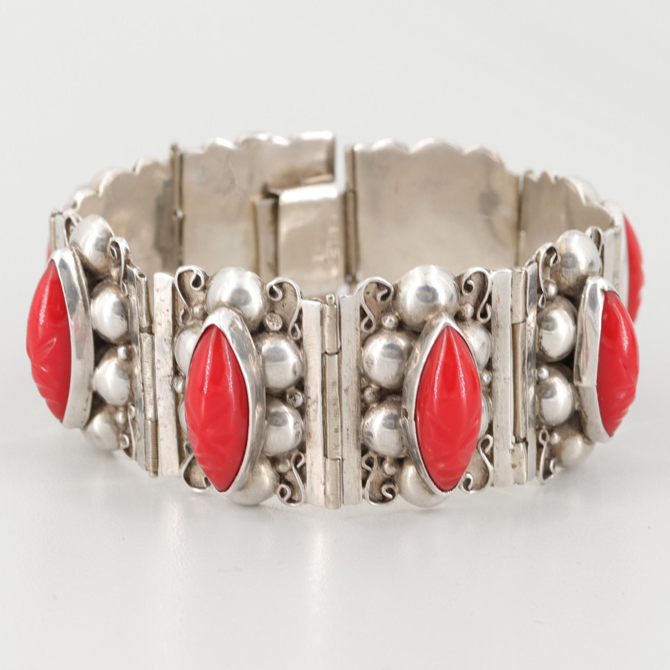 Mexican Sterling Silver Imitation Coral Bracelet