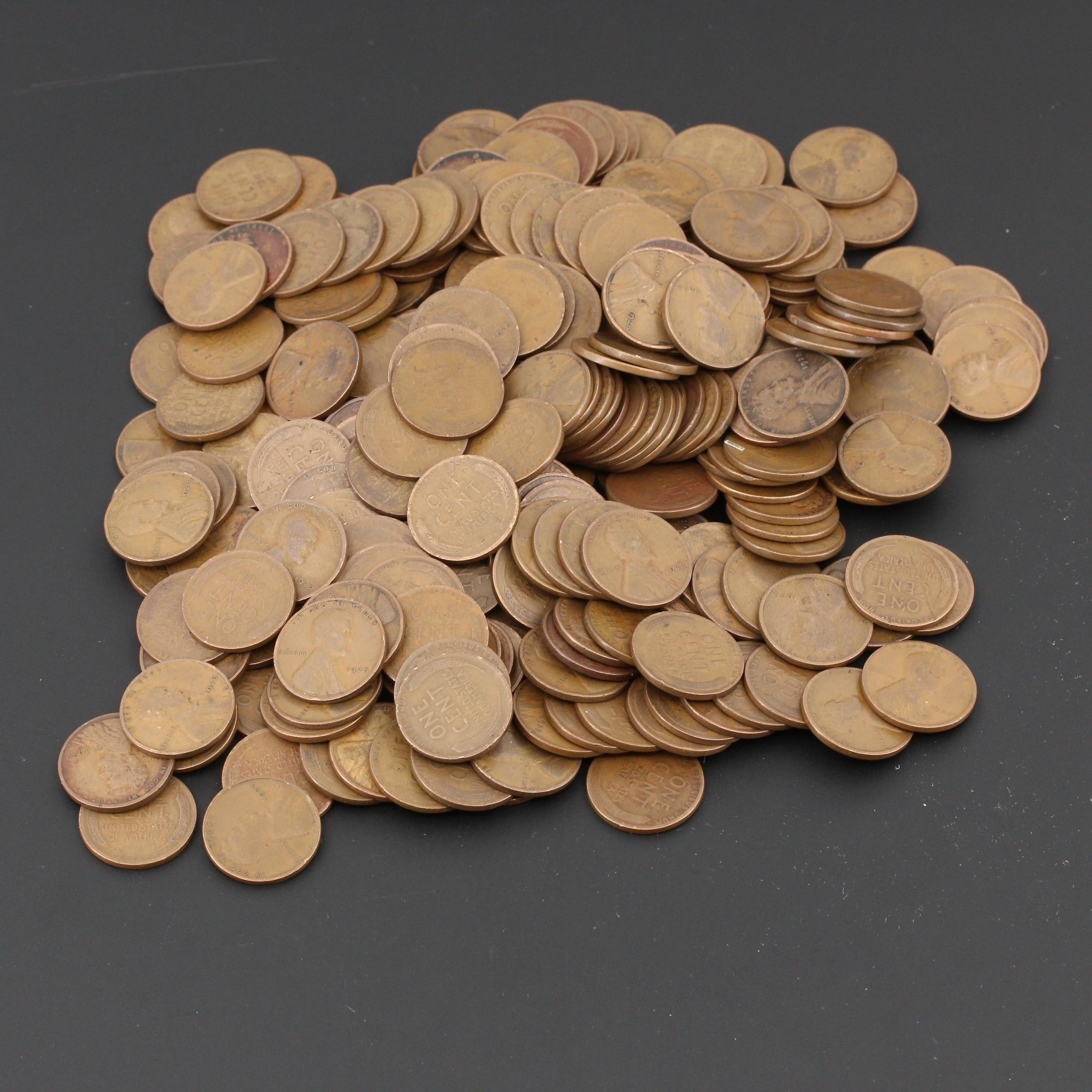 250 Lincoln Wheat Cents From the 1920s