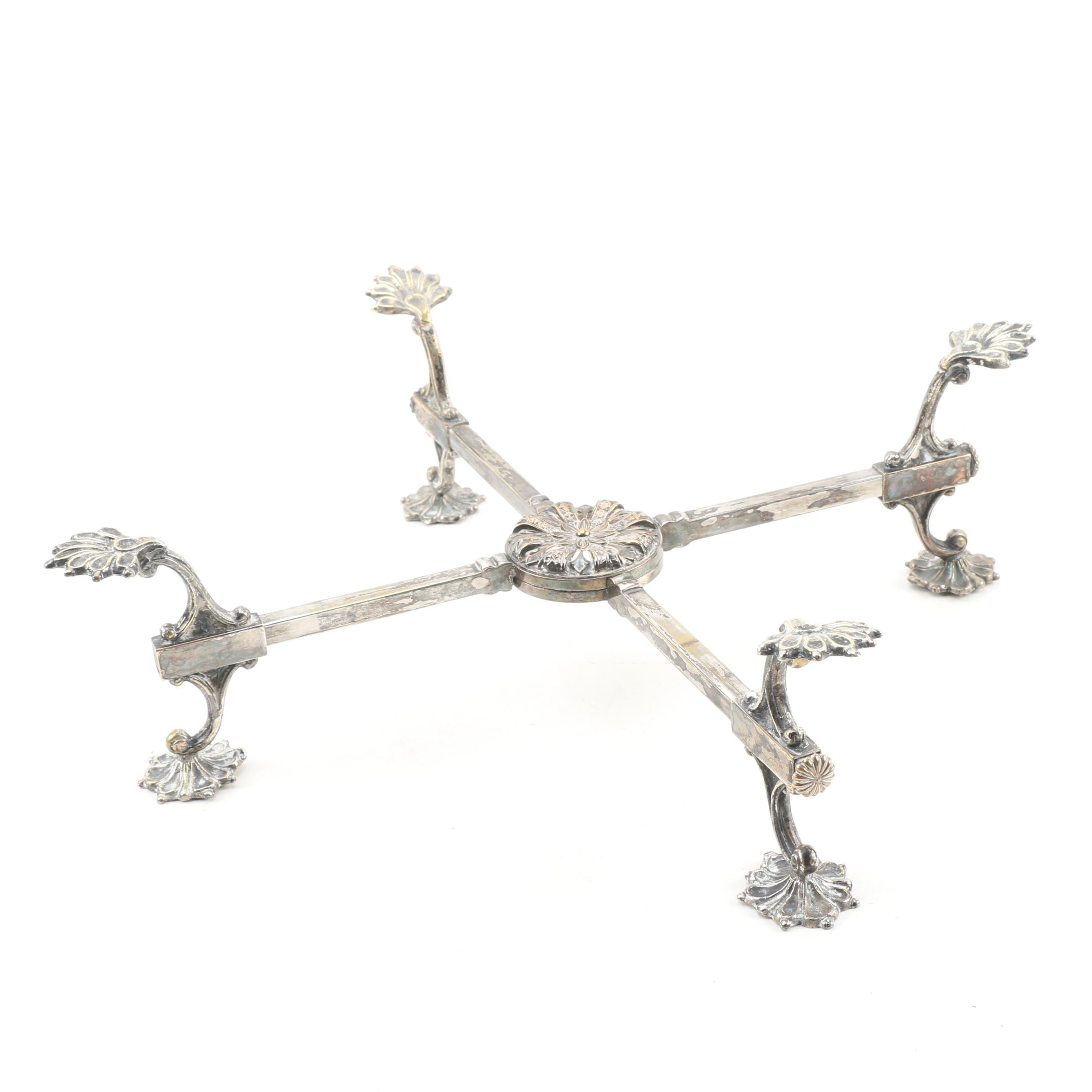 Shell Motif Silver Plate Adjustable Trivet Stand, Late 19th/ Early 20th Century
