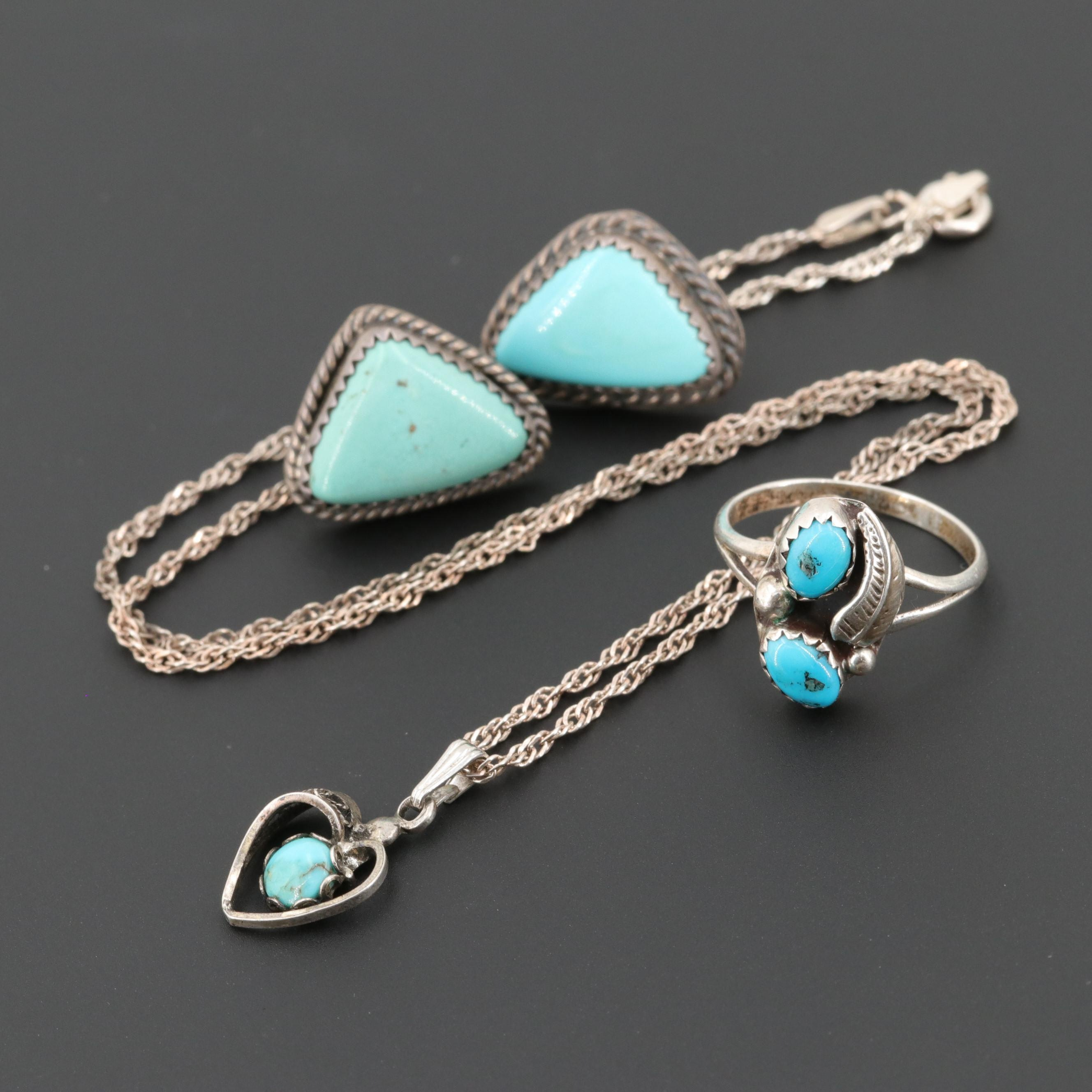 Sterling Silver Turquoise Ring , Earrings and Necklace