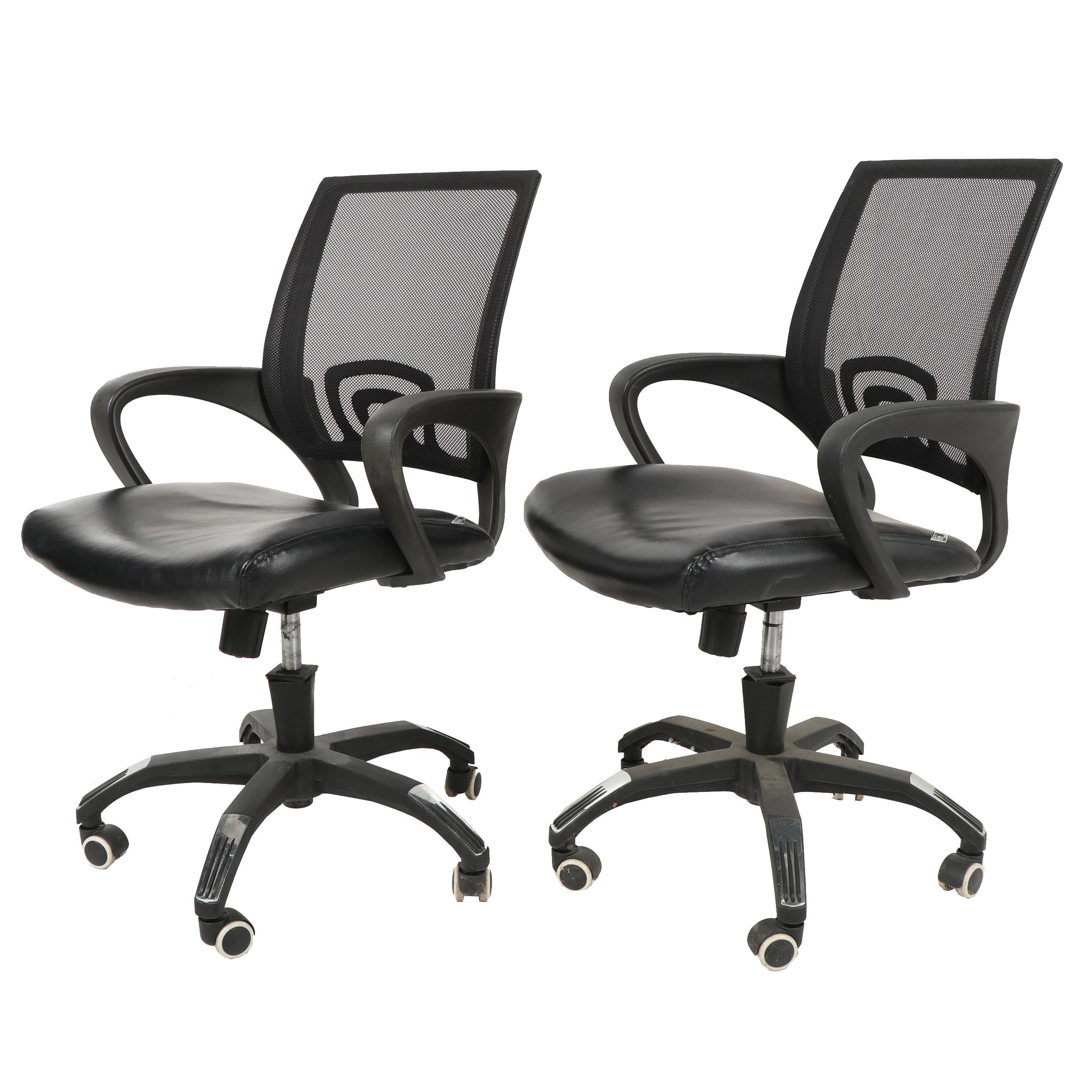 """Pair of Belnick Inc. """"Igo"""" Mesh and Leather Office Chairs"""