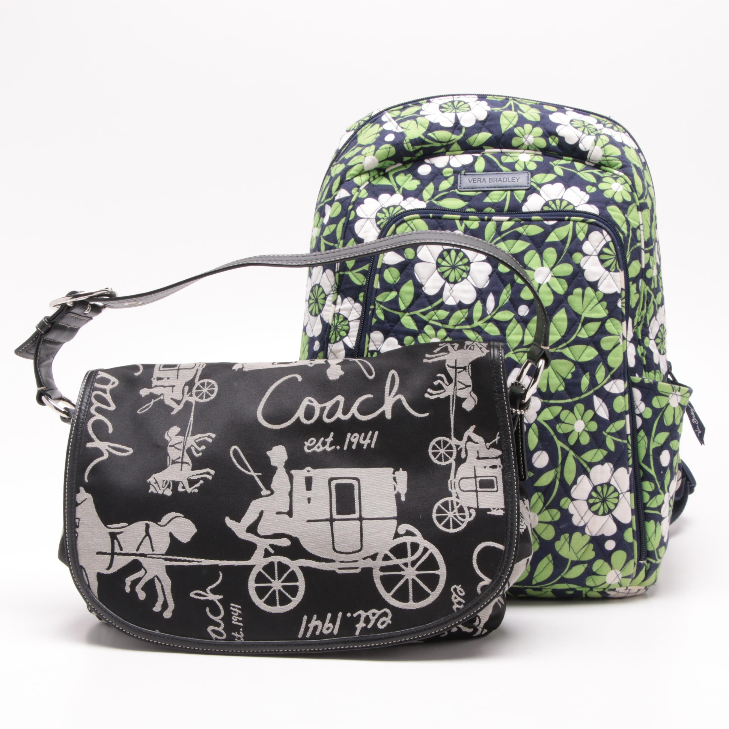 "Coach Carriage Logo Jacquard Ashely Bag and Vera Bradley ""Lucky You"" Backpack"