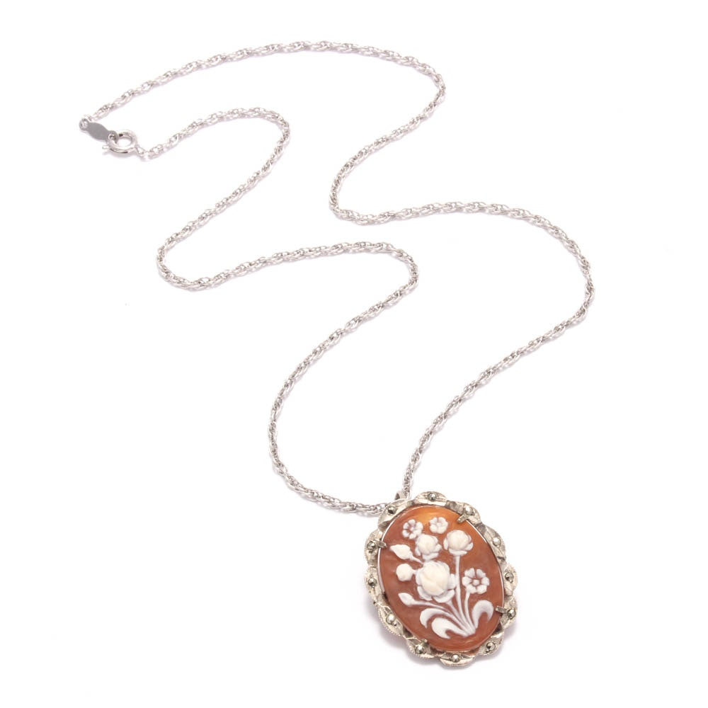 Sterling Silver Necklace with Botanical Shell Cameo Converter Pendant