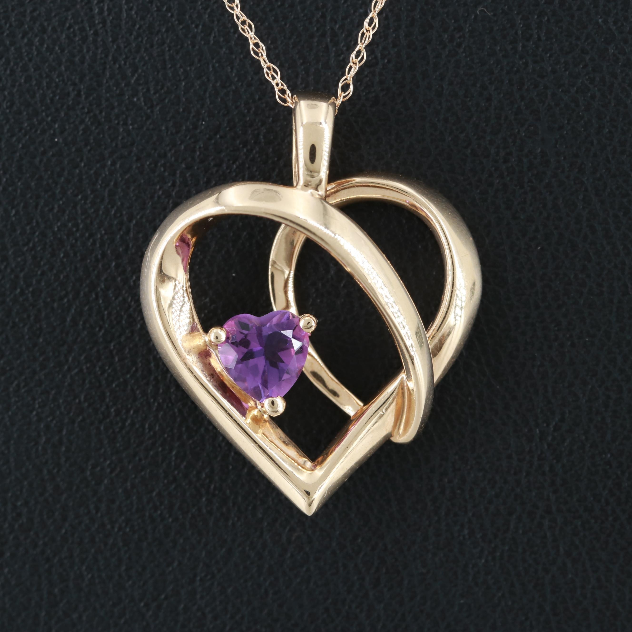 10K Yellow Gold Amethyst Heart Pendant on 14K Chain Necklace