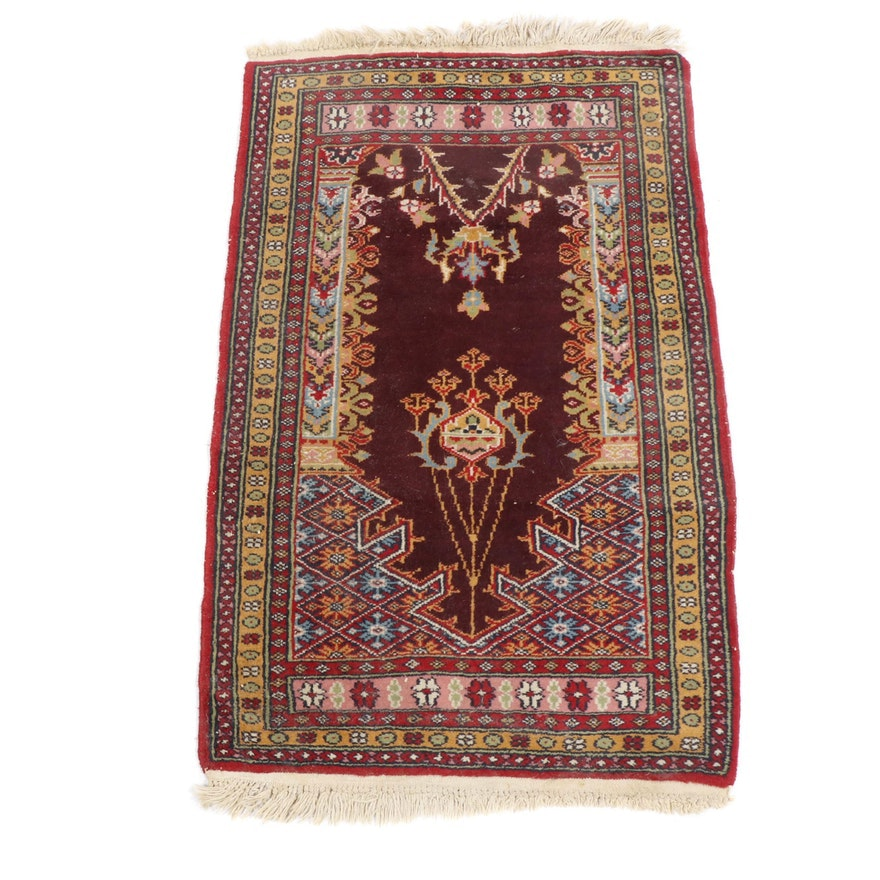Hand-Knotted Indo-Persian Wool Prayer Rug