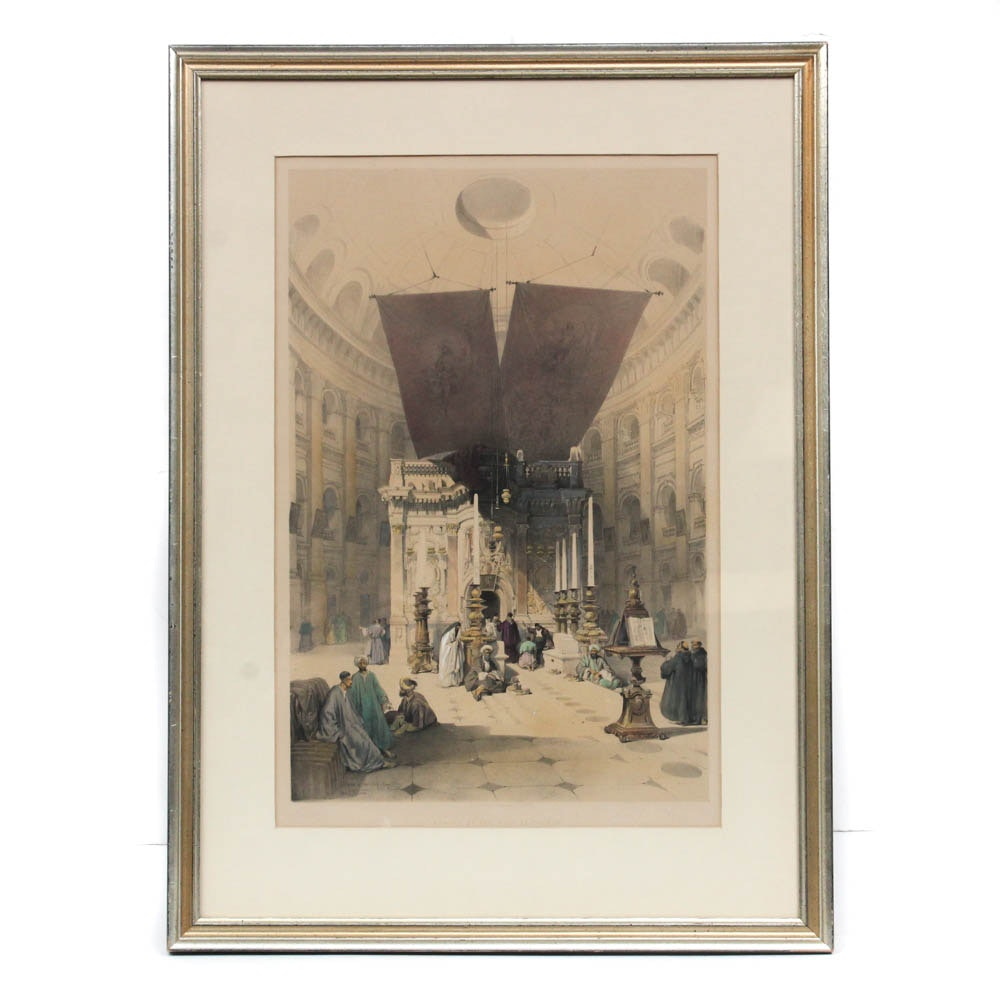 """Hand-Colored Lithograph """"Shrine of the Holy Sepluchre"""" after David Roberts"""