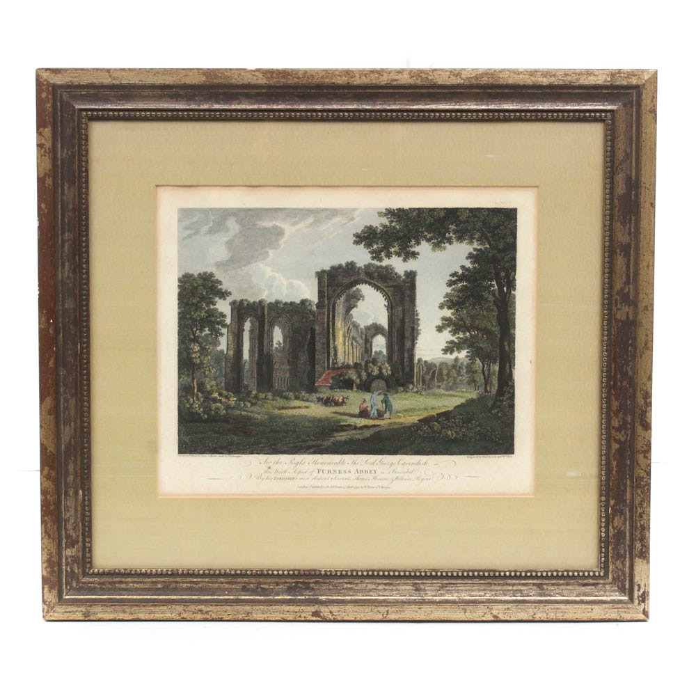 "Hand Colored Engraving ""Furness Abbey"" after Thomas Hearne"