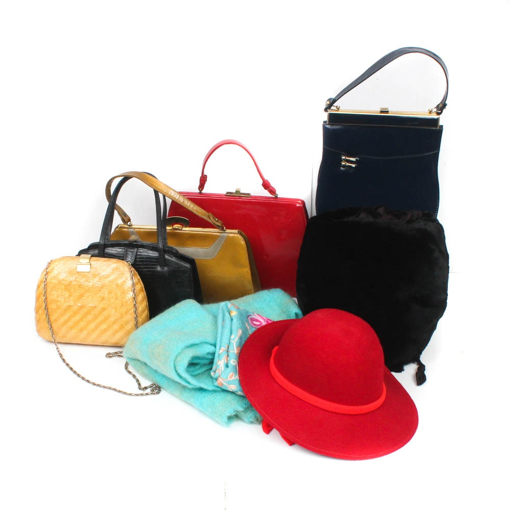 Women's Handbags, Scarves, Hat and Fur Muff, Vintage
