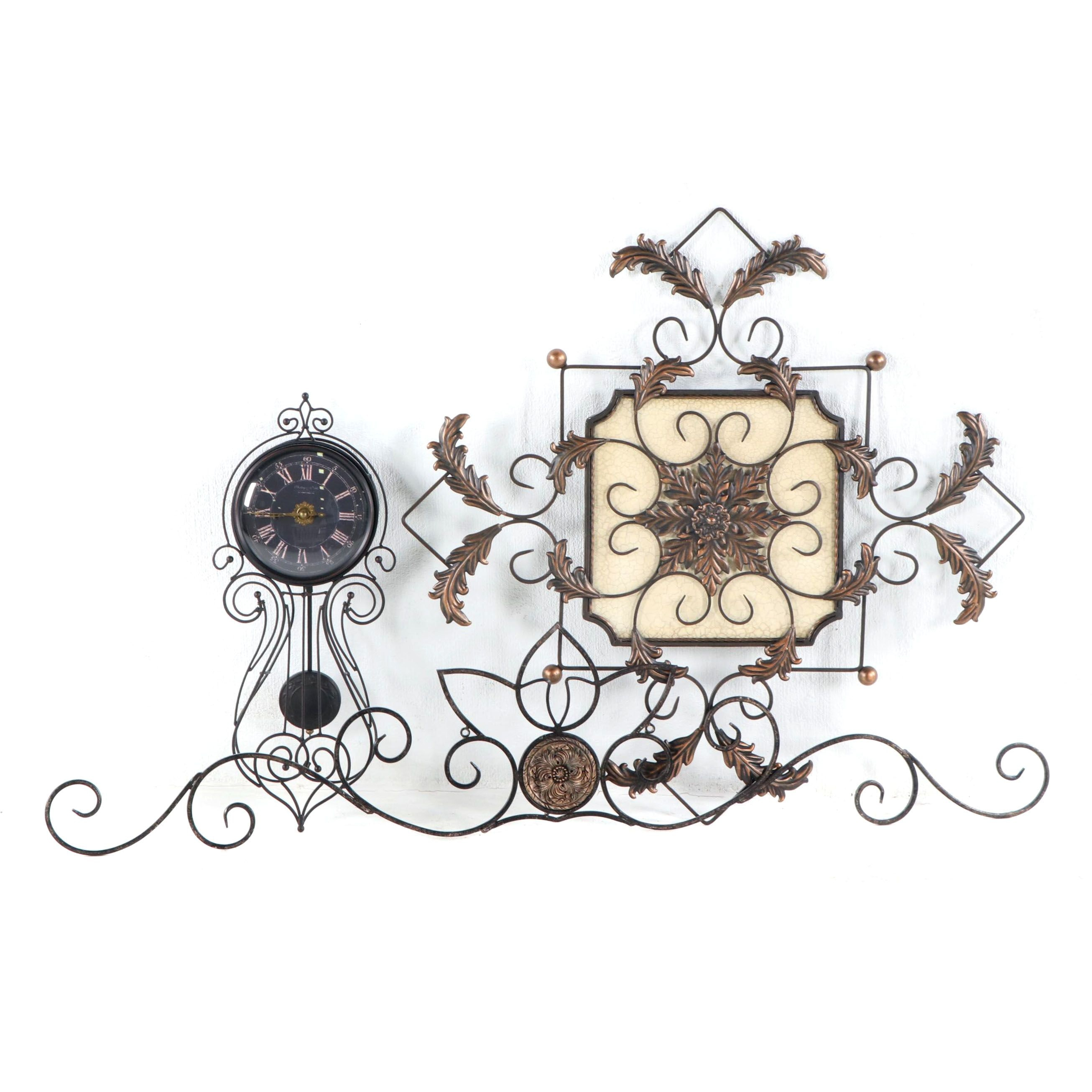 Sterling and Noble Decorative Wall Clock with Filigree Metal Wall Decor