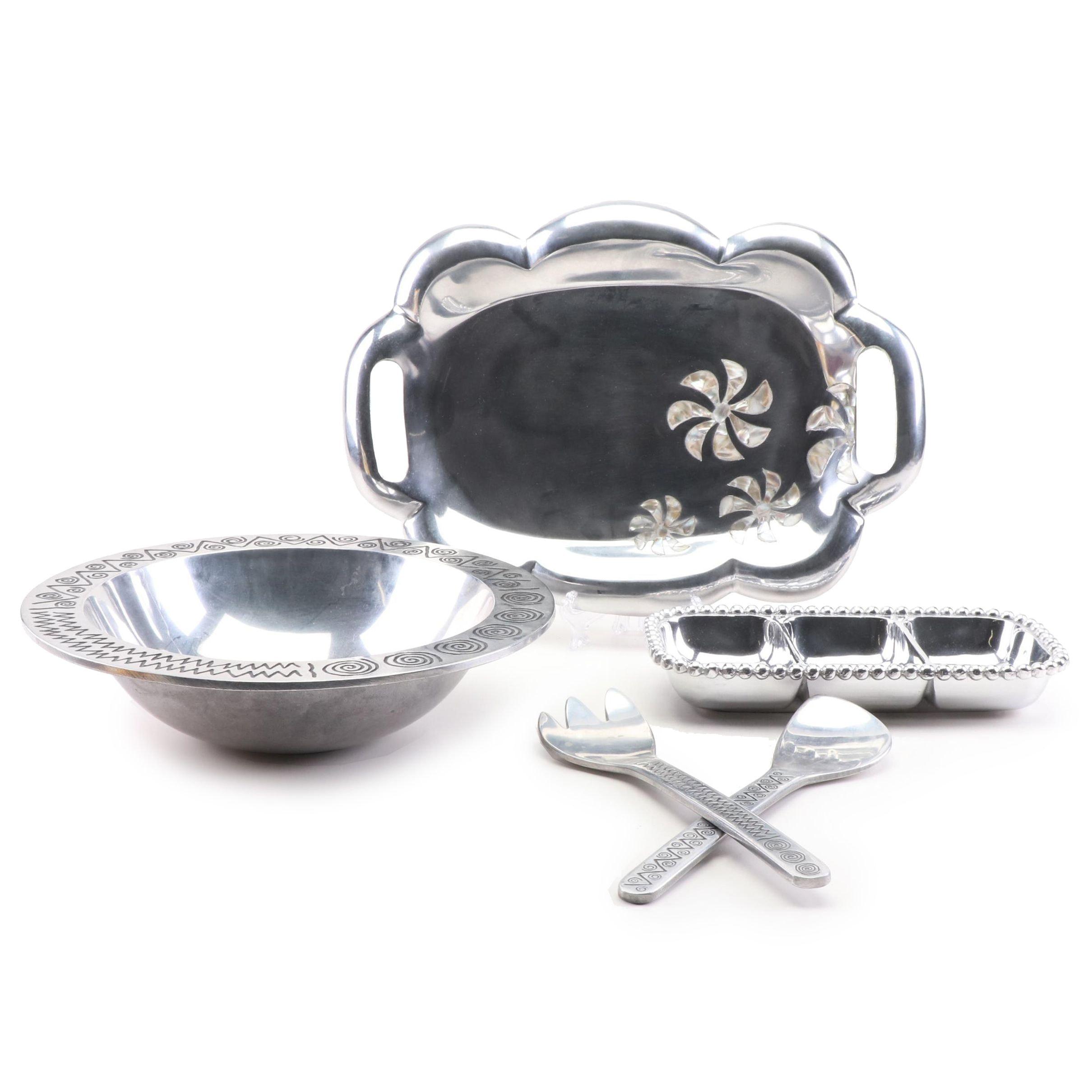 Silver Toned Metal Serveware, Including Mariposa