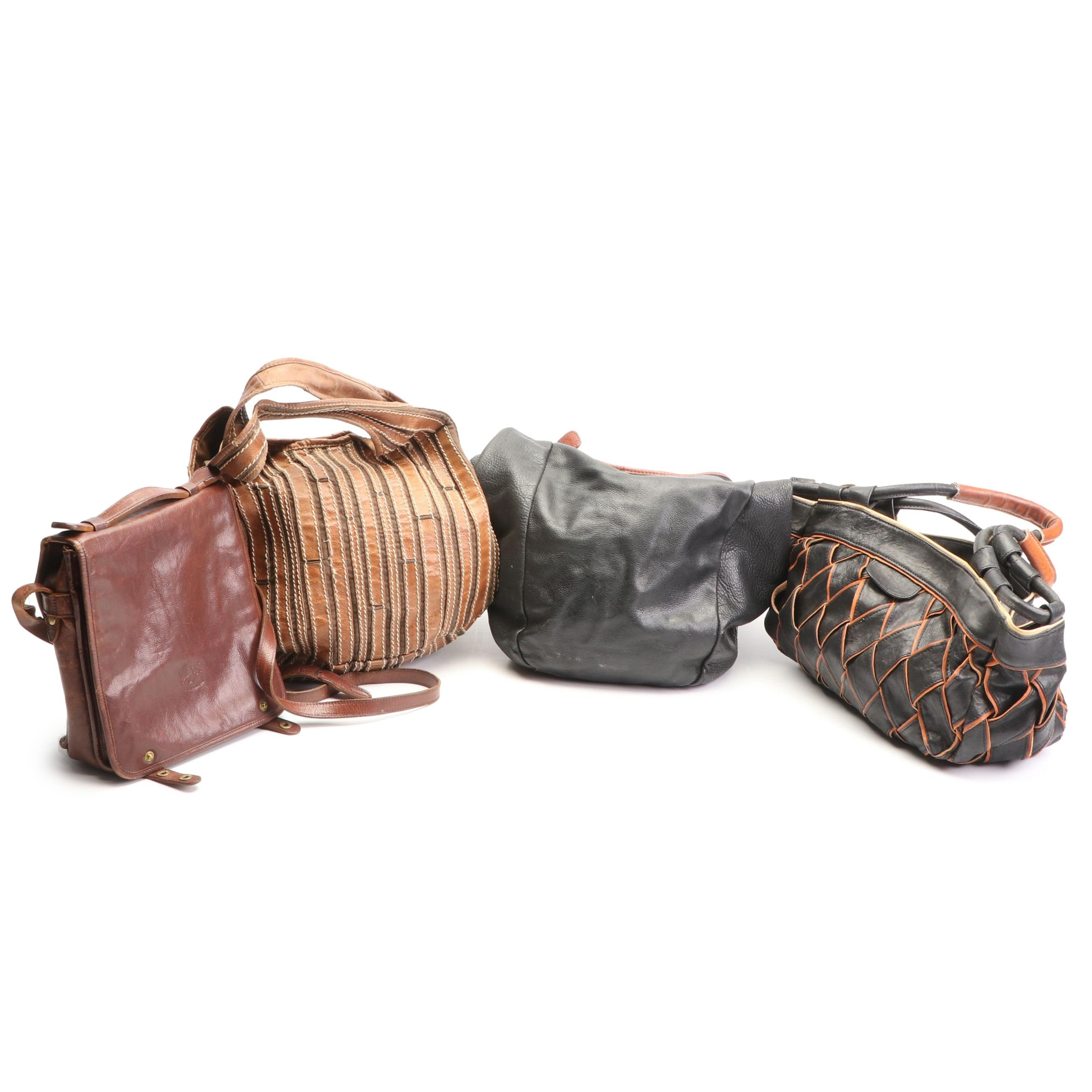 Four Leather Handbags Featuring Woven Charles David Purse