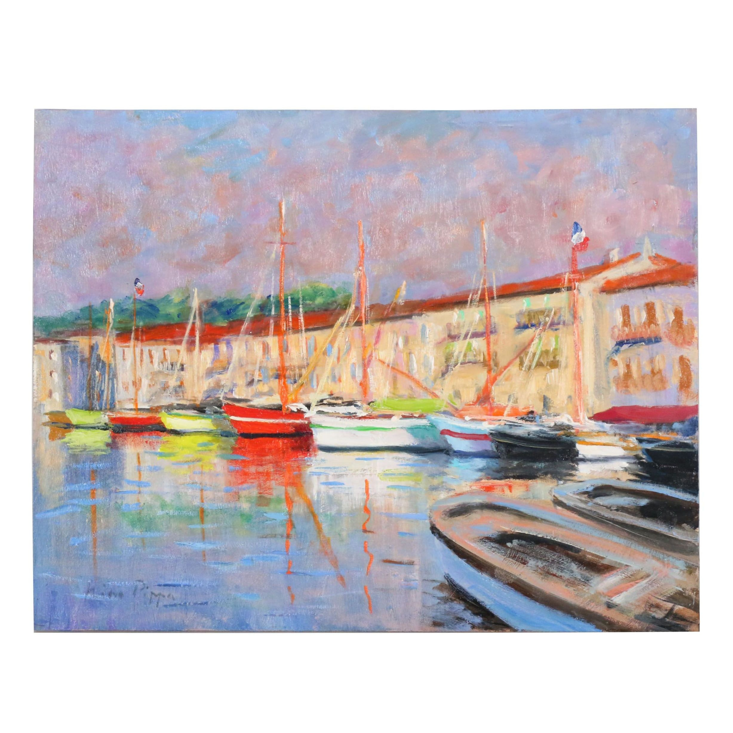 "Nino Pippa Oil Painting ""French Riviera - Saint Tropez"""