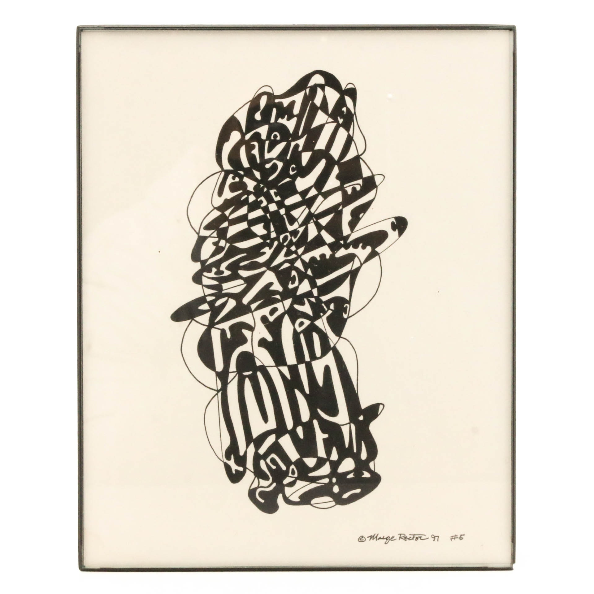 """Marge Rector Ink Drawing """"#5"""""""
