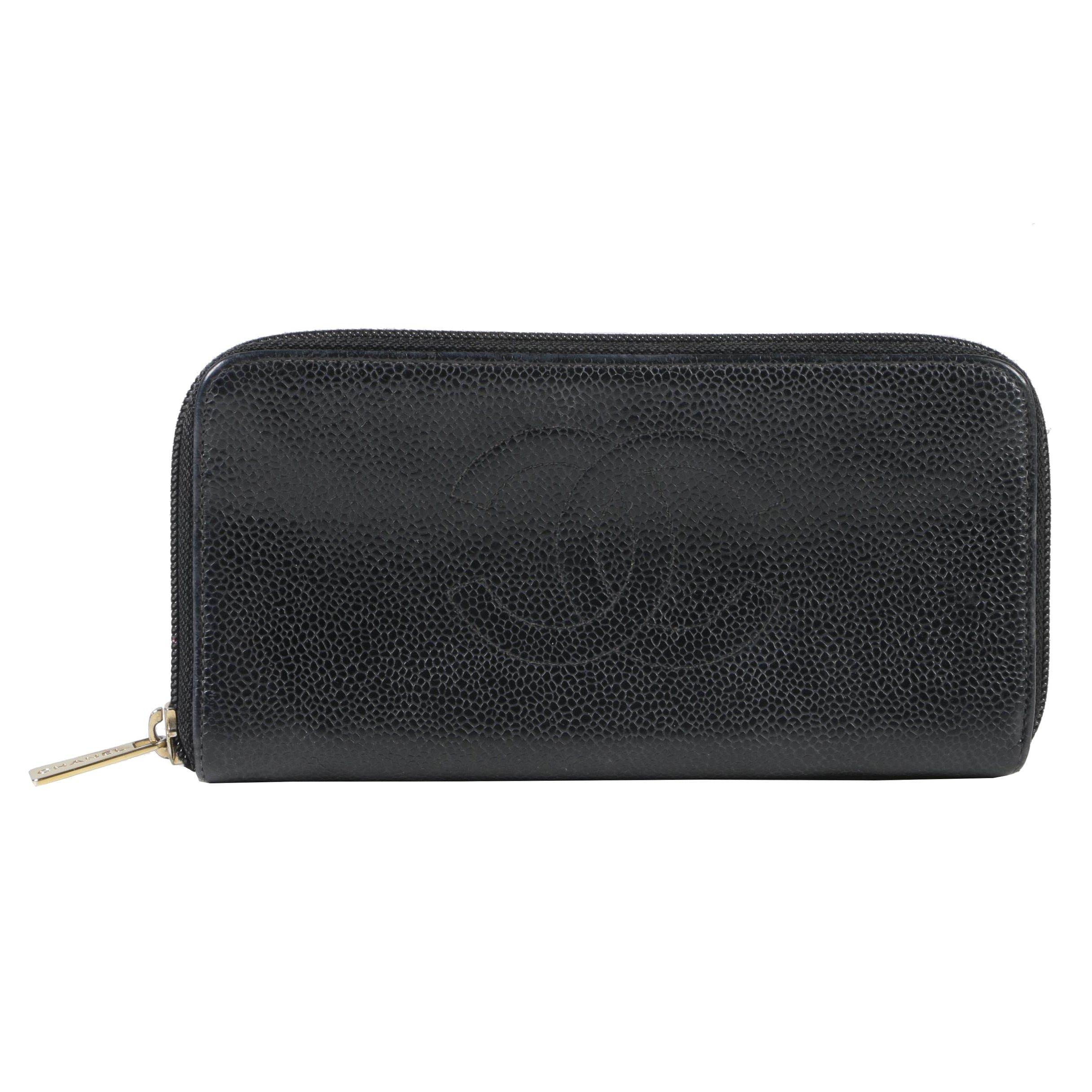 Chanel Black Caviar Leather CC Logo Zip-Around Wallet