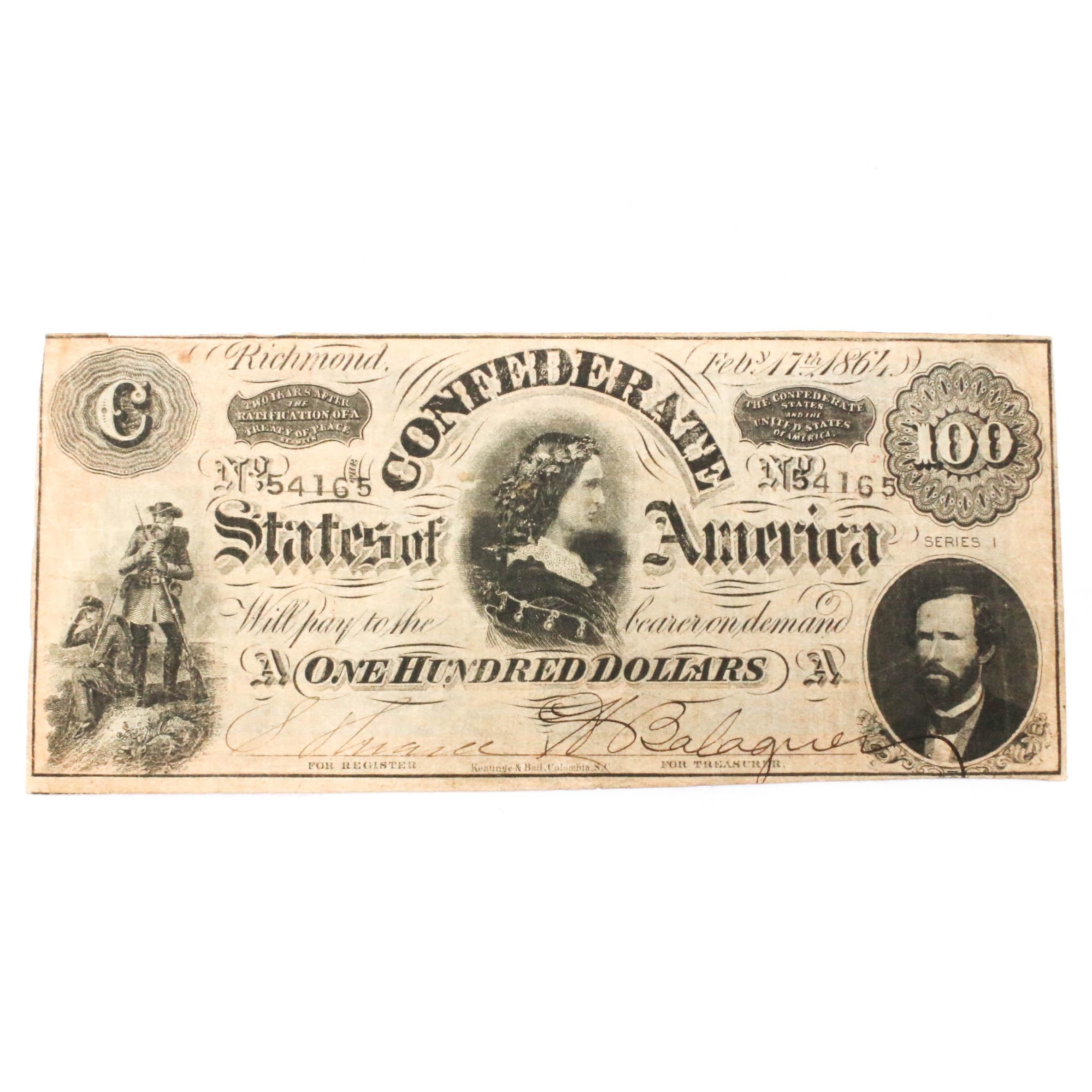 1864 Confederate States of America $100 Banknote