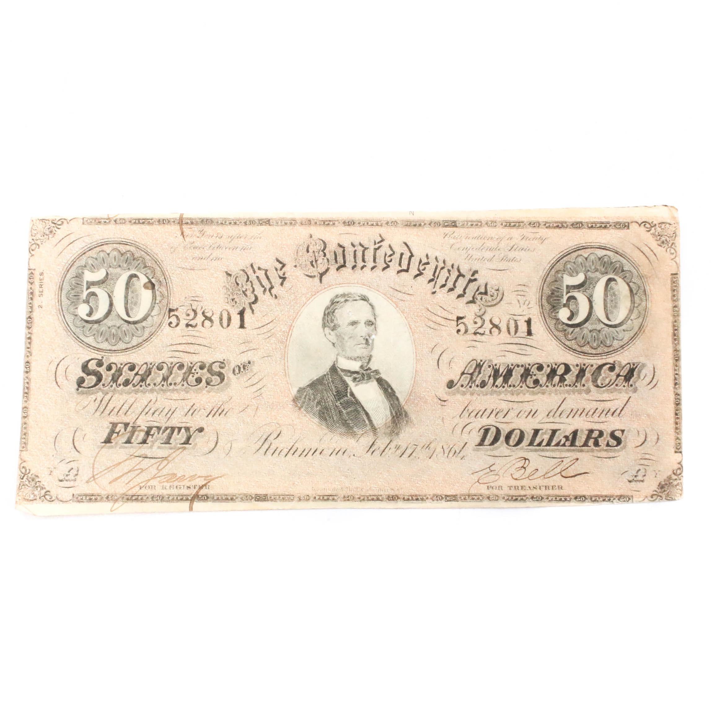 1864 Confederate States of America $50 Banknote