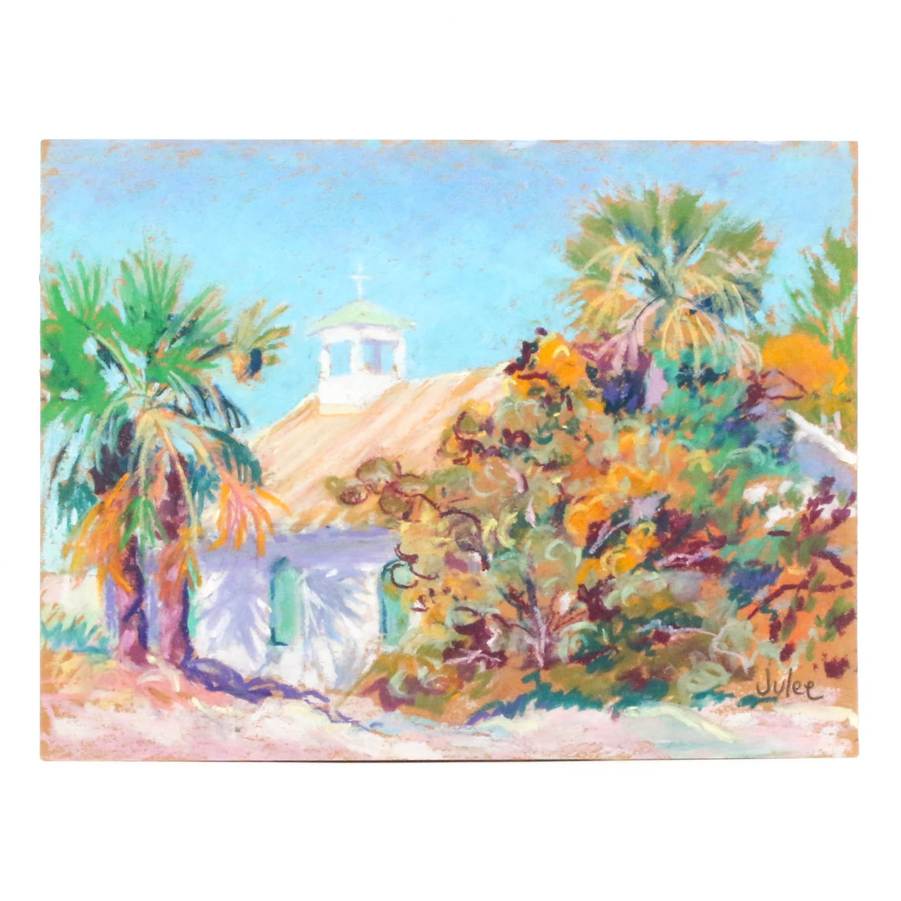 "Julee Docking Pastel Drawing ""Little Church Boca Grande"""