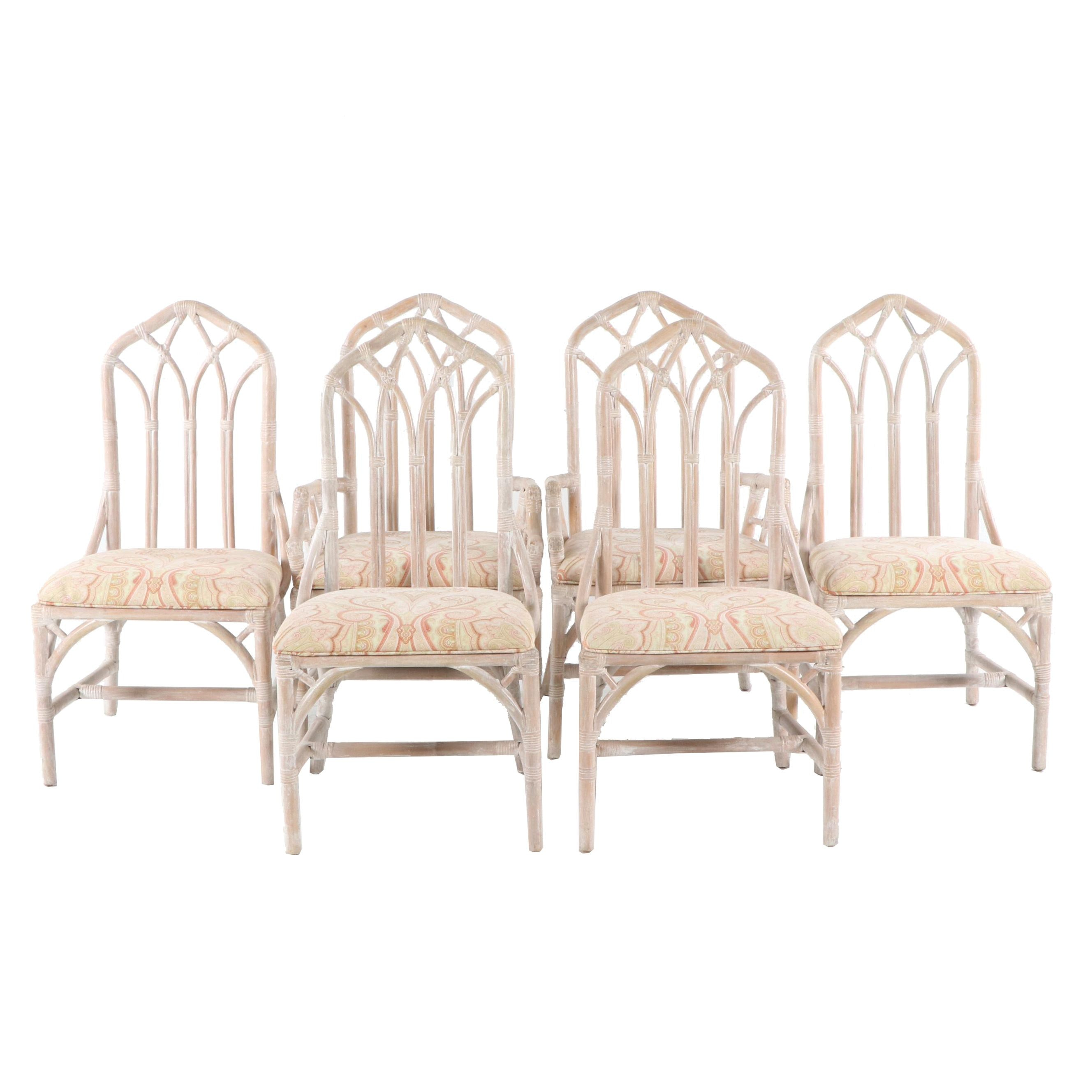 Upholstered White Washed Rattan Dining Chairs