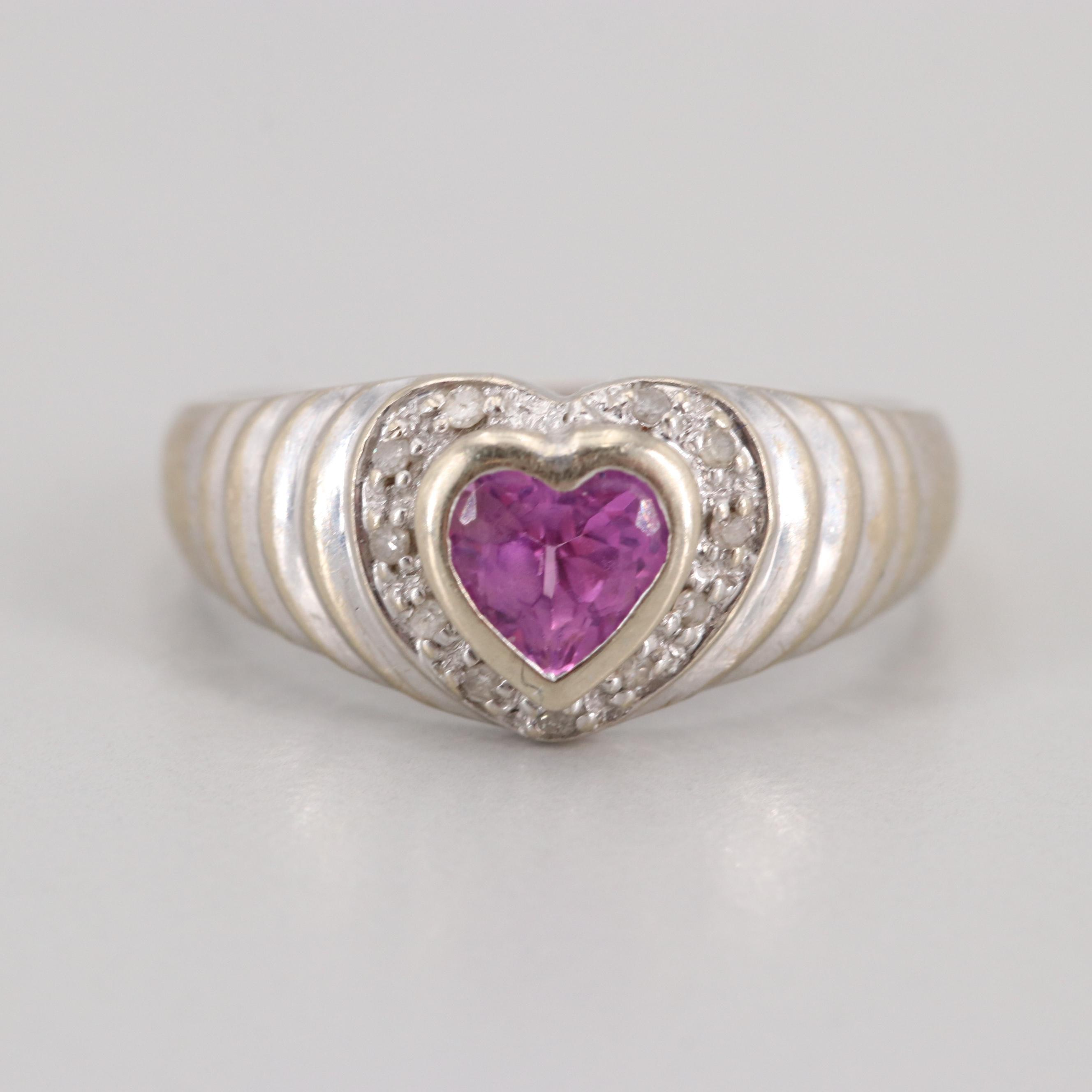 14K White Gold Synthetic Pink Sapphire and Diamond Heart Ring