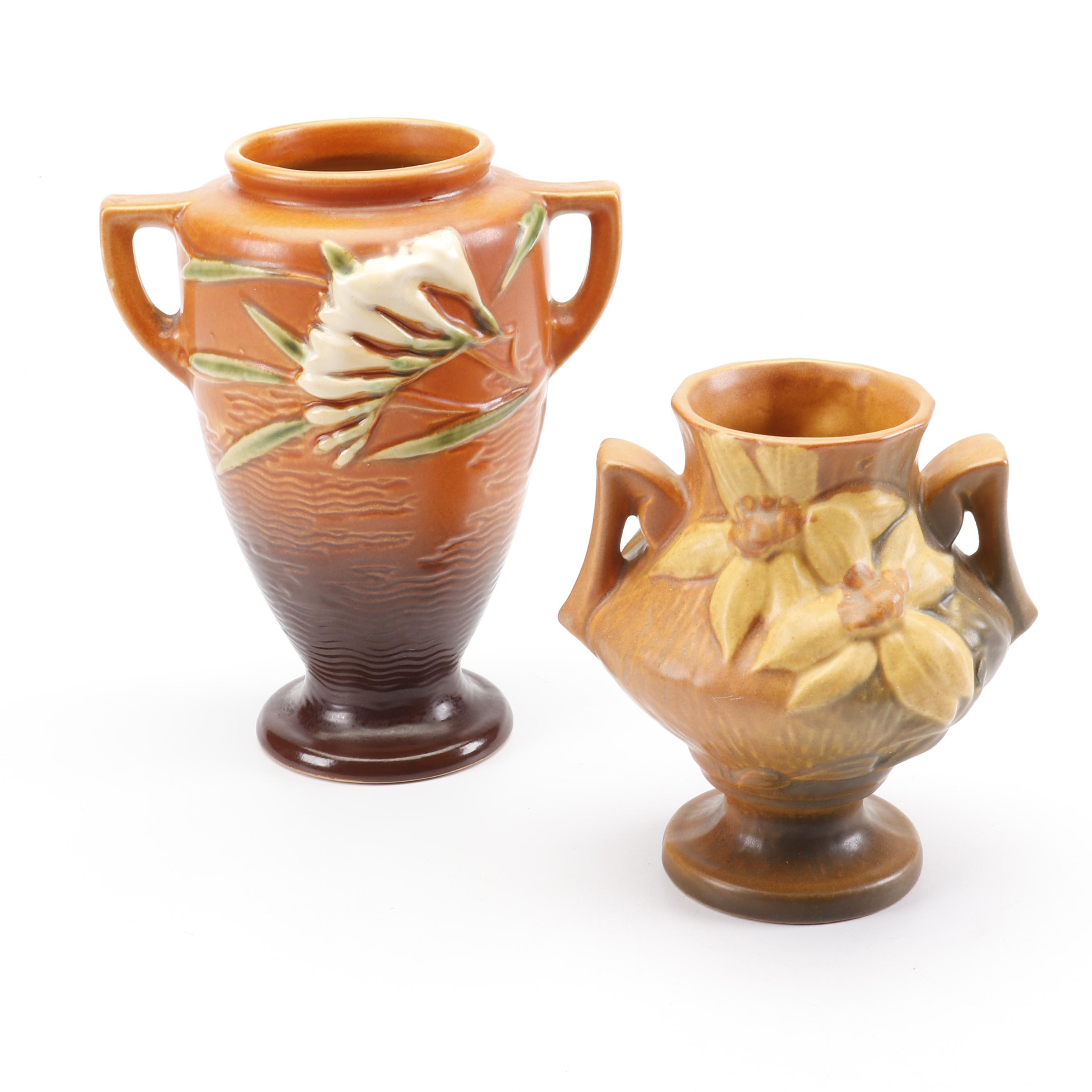 """Roseville Pottery """"Freesia"""" and """"Clematis"""" Vases, 1940s"""