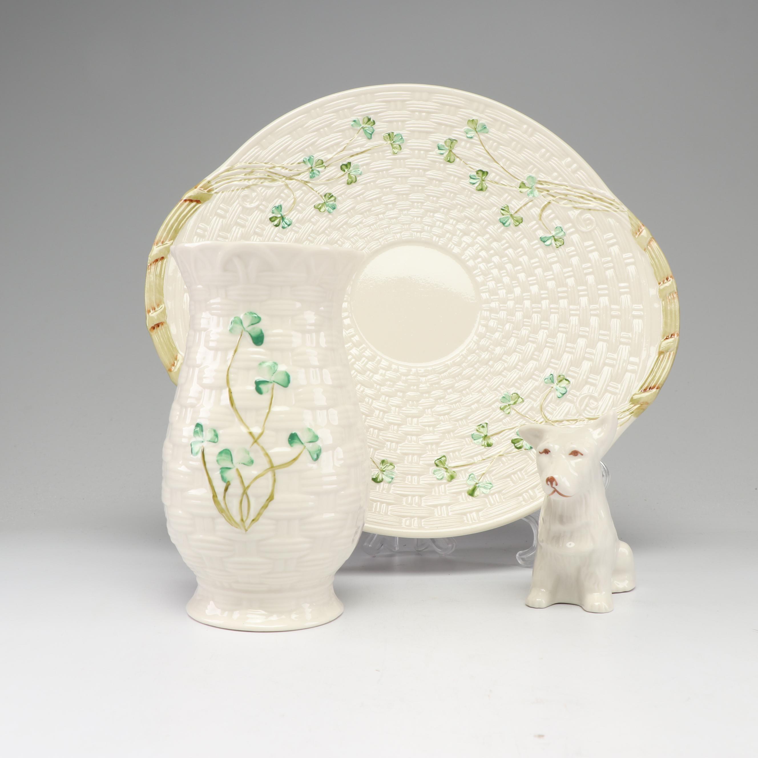 Belleek Bone China Dog Figurine, Shamrock Vase and Bread Plate